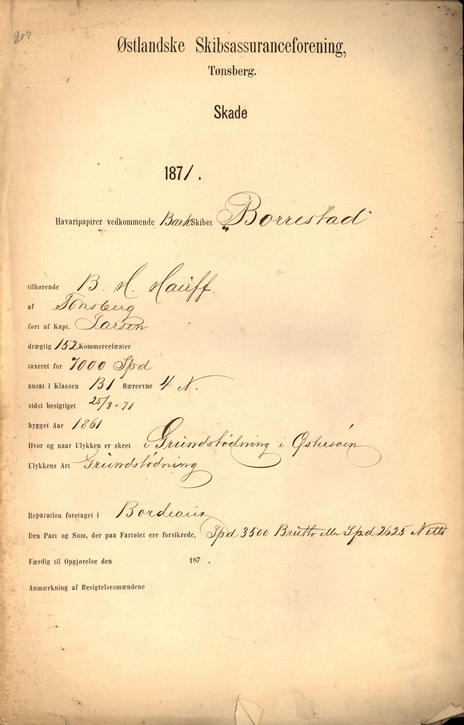 VEMU, Pa 63 - Østlandske skibsassuranceforening, G/Ga/L0003: Havaridokumenter, 1870