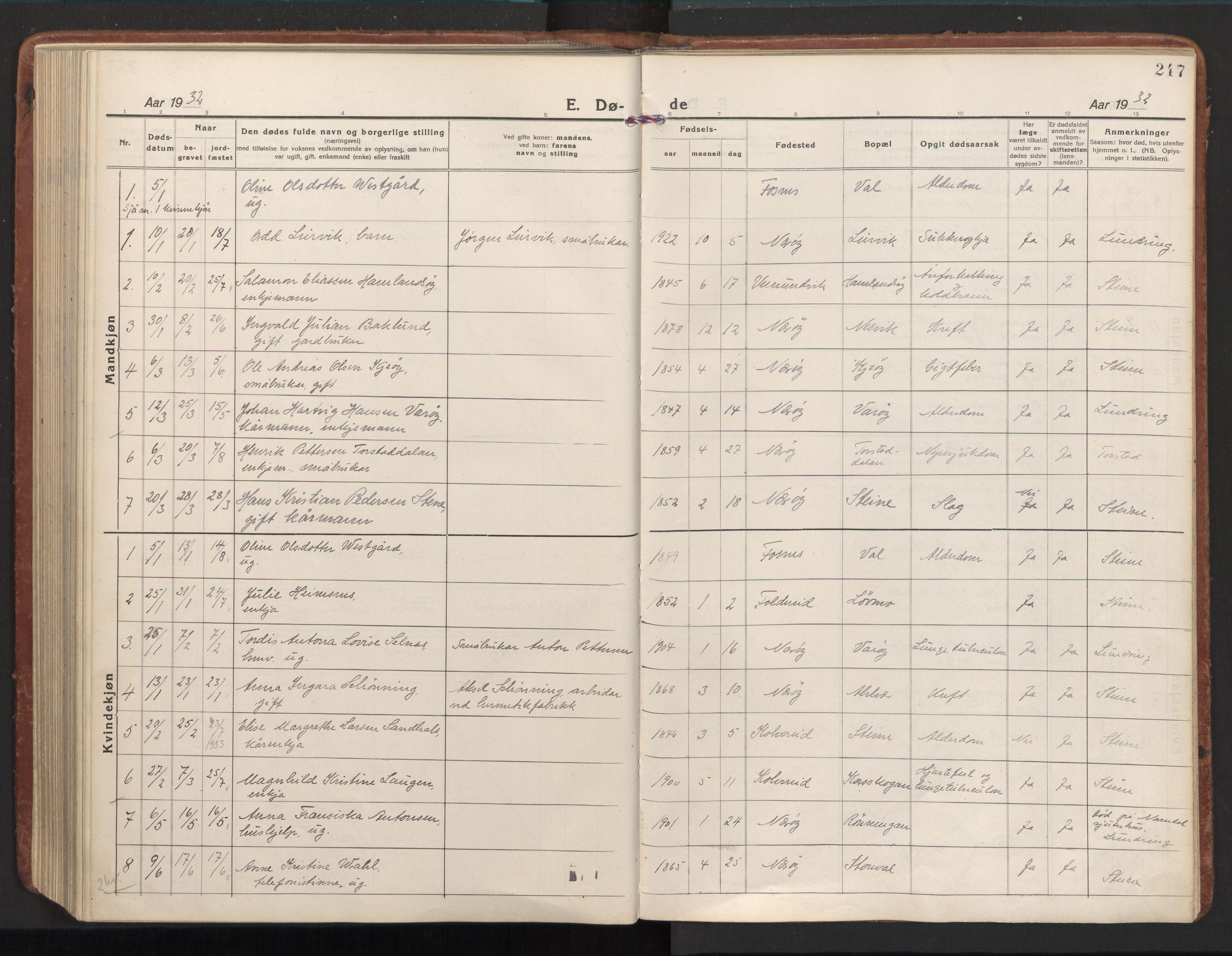 SAT, Ministerialprotokoller, klokkerbøker og fødselsregistre - Nord-Trøndelag, 784/L0678: Ministerialbok nr. 784A13, 1921-1938, s. 247