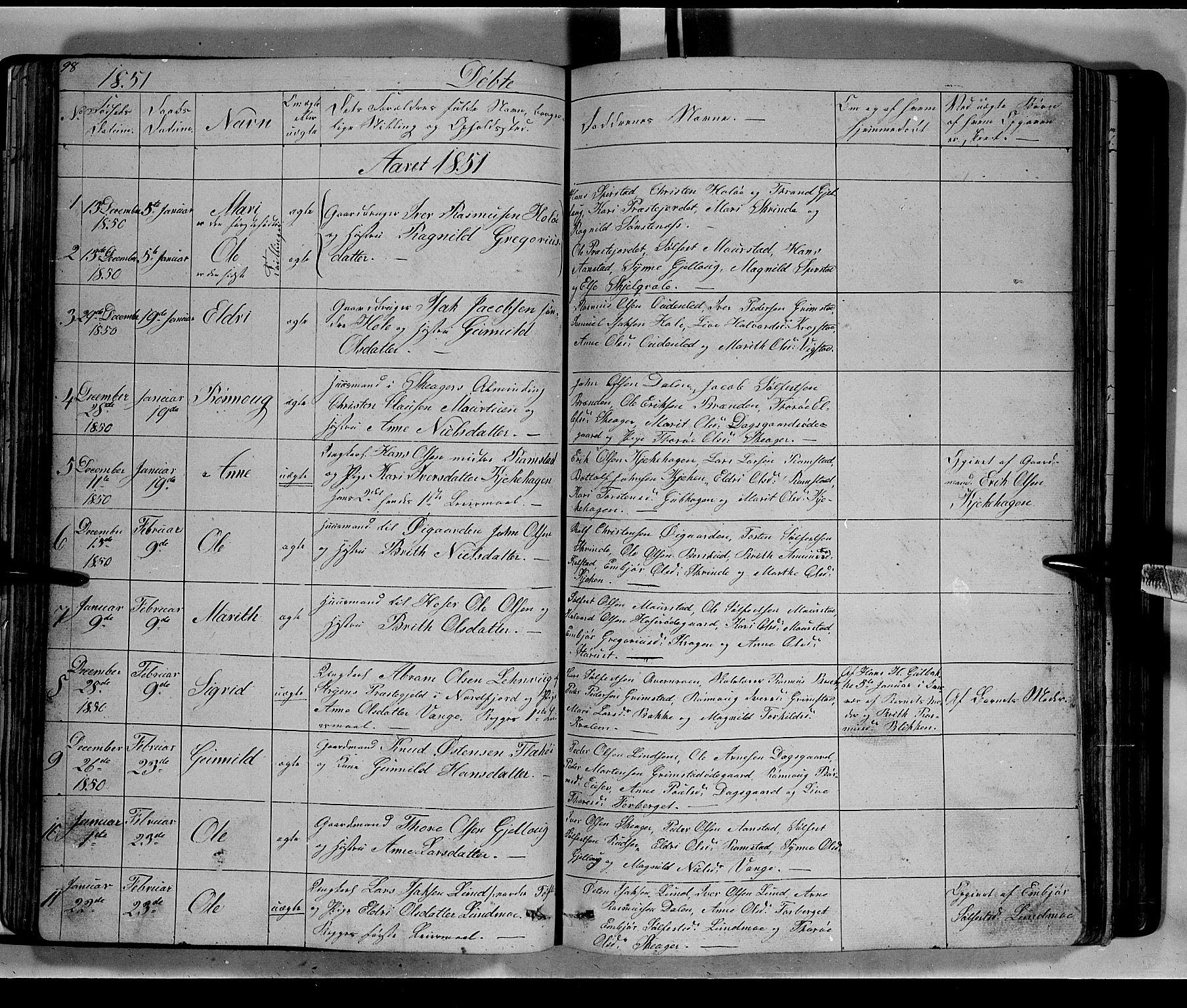 SAH, Lom prestekontor, L/L0004: Klokkerbok nr. 4, 1845-1864, s. 98-99