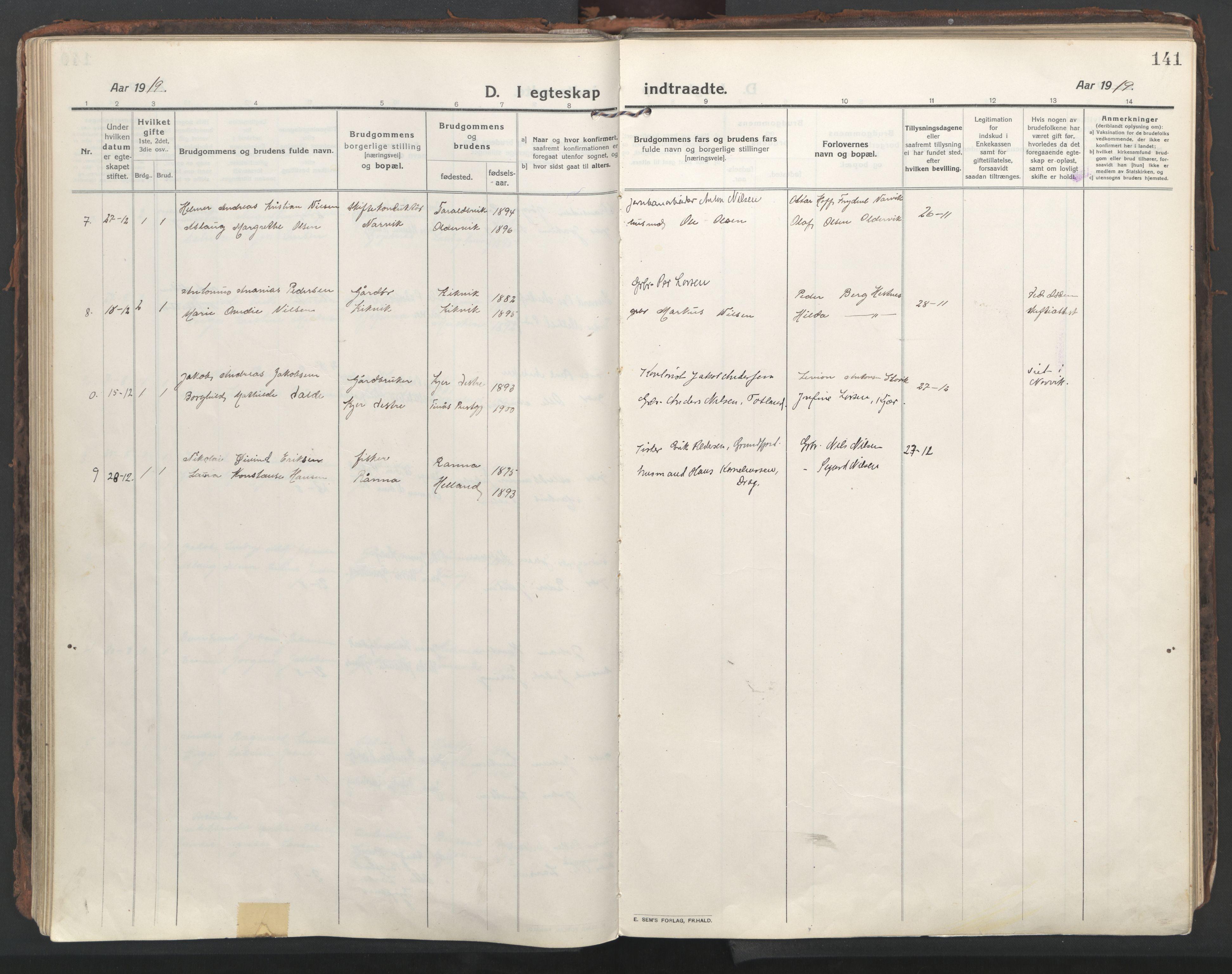 SAT, Ministerialprotokoller, klokkerbøker og fødselsregistre - Nordland, 861/L0872: Ministerialbok nr. 861A07, 1915-1924, s. 141