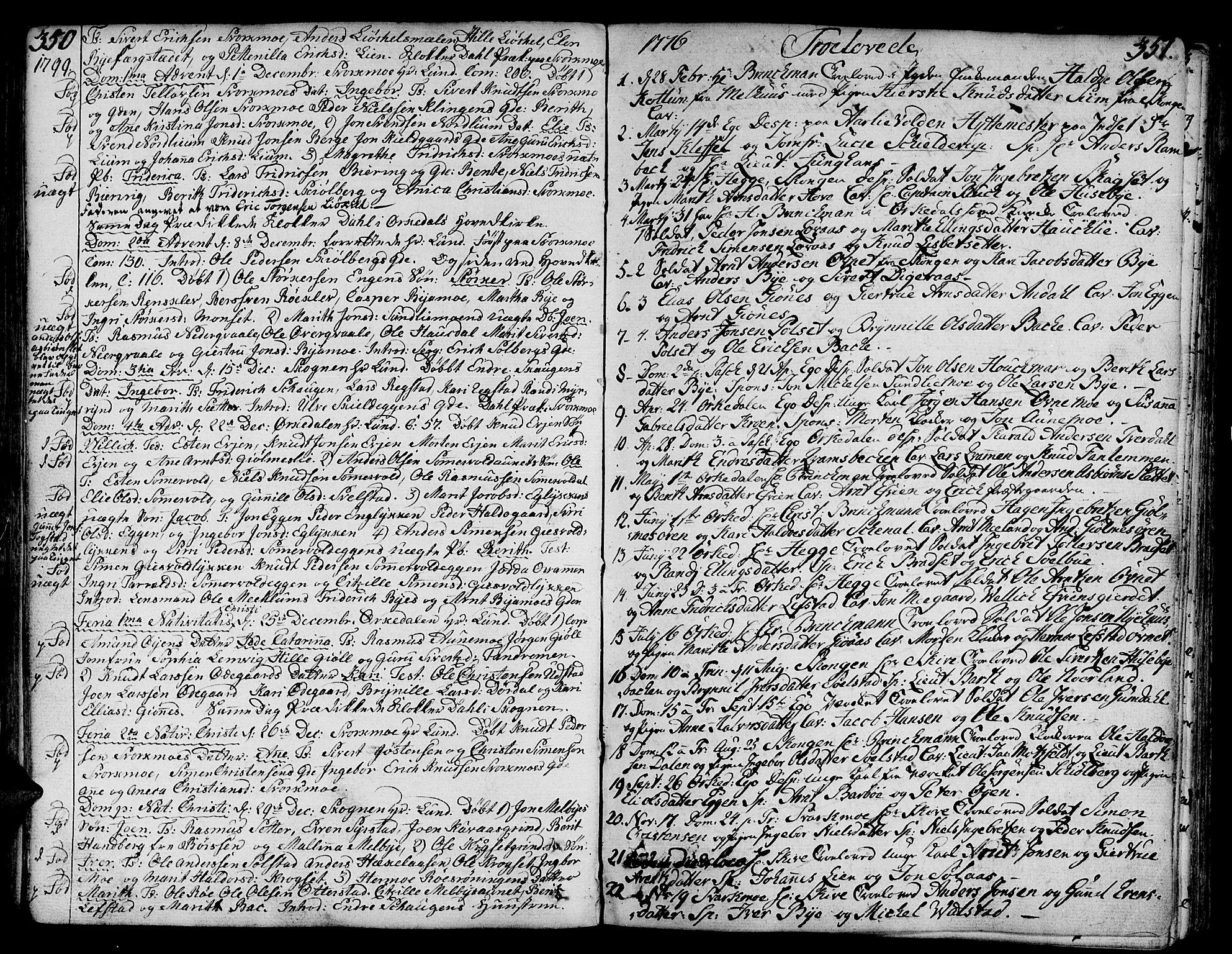 SAT, Ministerialprotokoller, klokkerbøker og fødselsregistre - Sør-Trøndelag, 668/L0802: Ministerialbok nr. 668A02, 1776-1799, s. 350-351