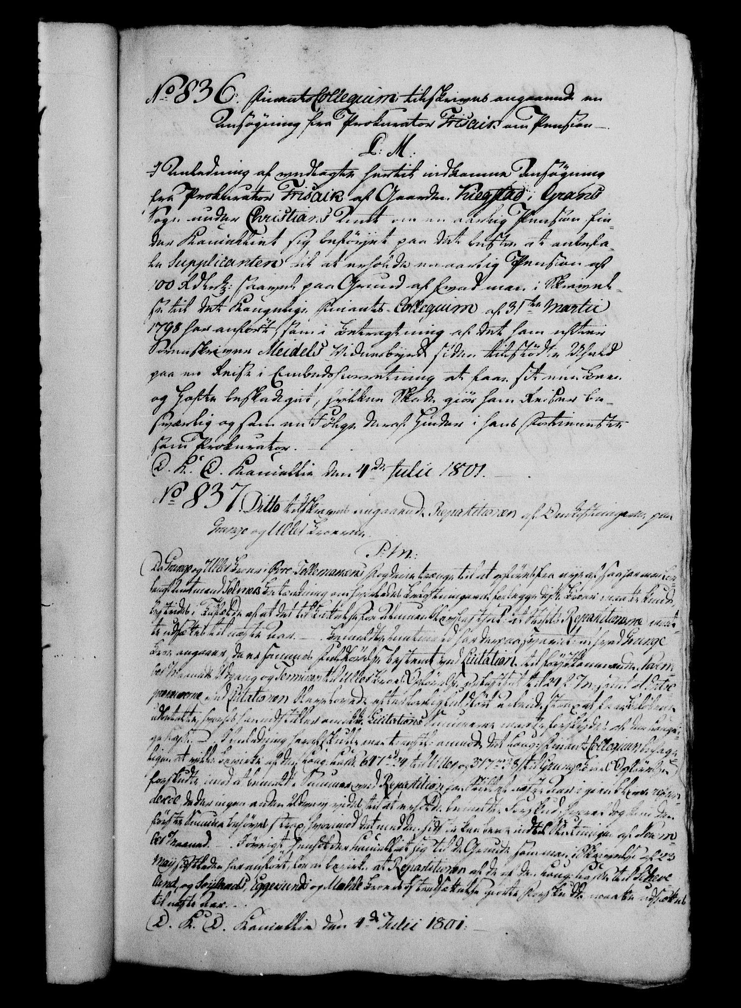RA, Danske Kanselli 1800-1814, H/Hg/Hga/Hgaa/L0004: Brevbok, 1801