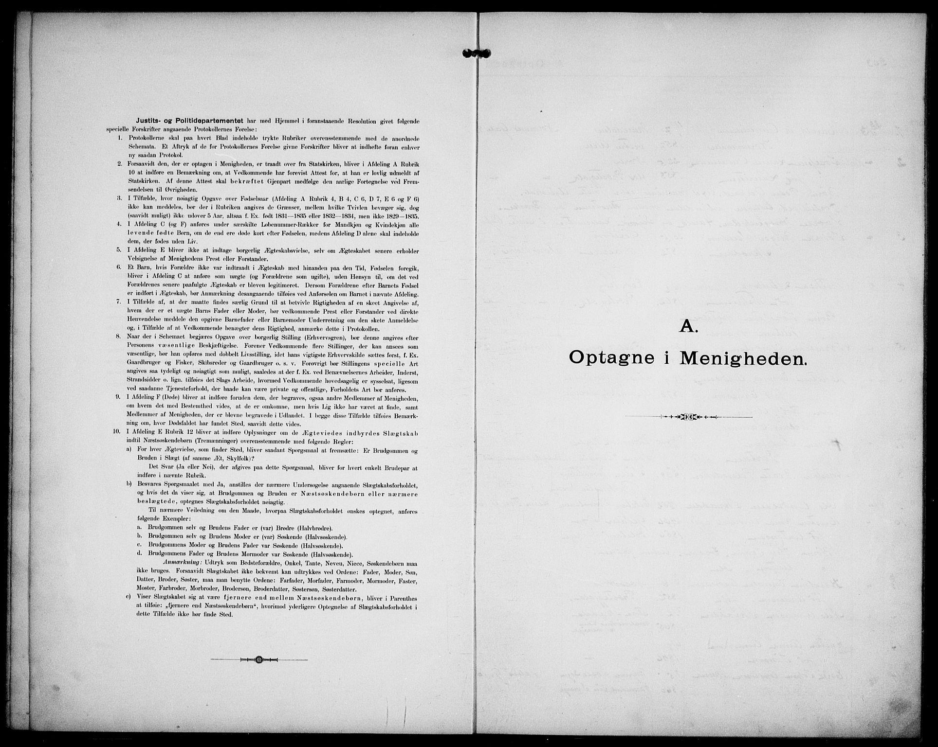 SAO, Kristi menighet Oslo , A/L0001: Dissenterprotokoll nr. 1, 1903-1938