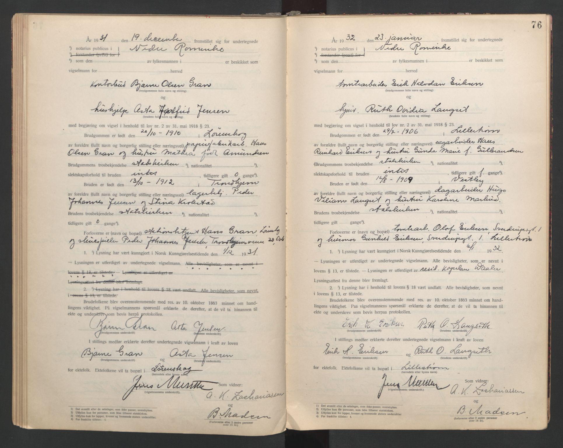 SAO, Nedre Romerike sorenskriveri, L/Lb/L0001: Vigselsbok - borgerlige vielser, 1920-1935, s. 76
