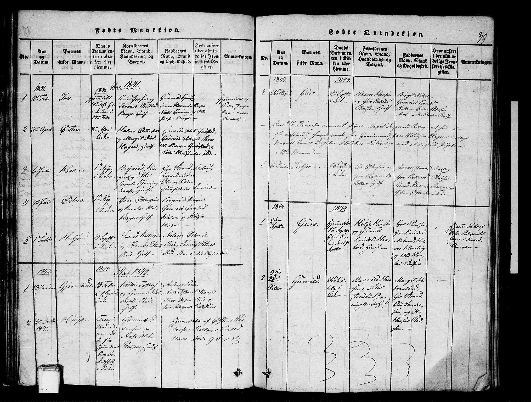 SAKO, Tinn kirkebøker, G/Gb/L0001: Klokkerbok nr. II 1 /1, 1815-1850, s. 39