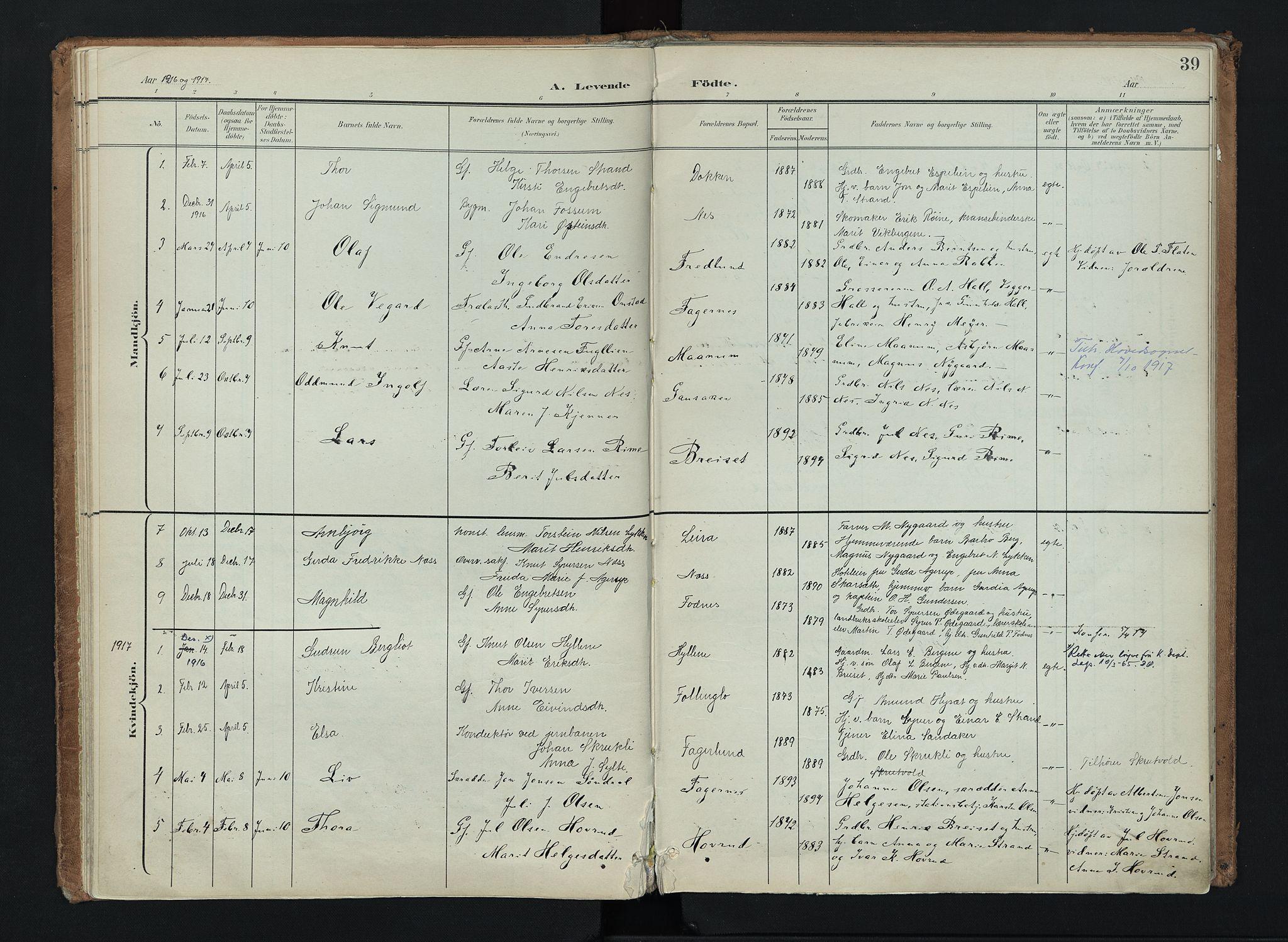 SAH, Nord-Aurdal prestekontor, Ministerialbok nr. 16, 1897-1925, s. 39