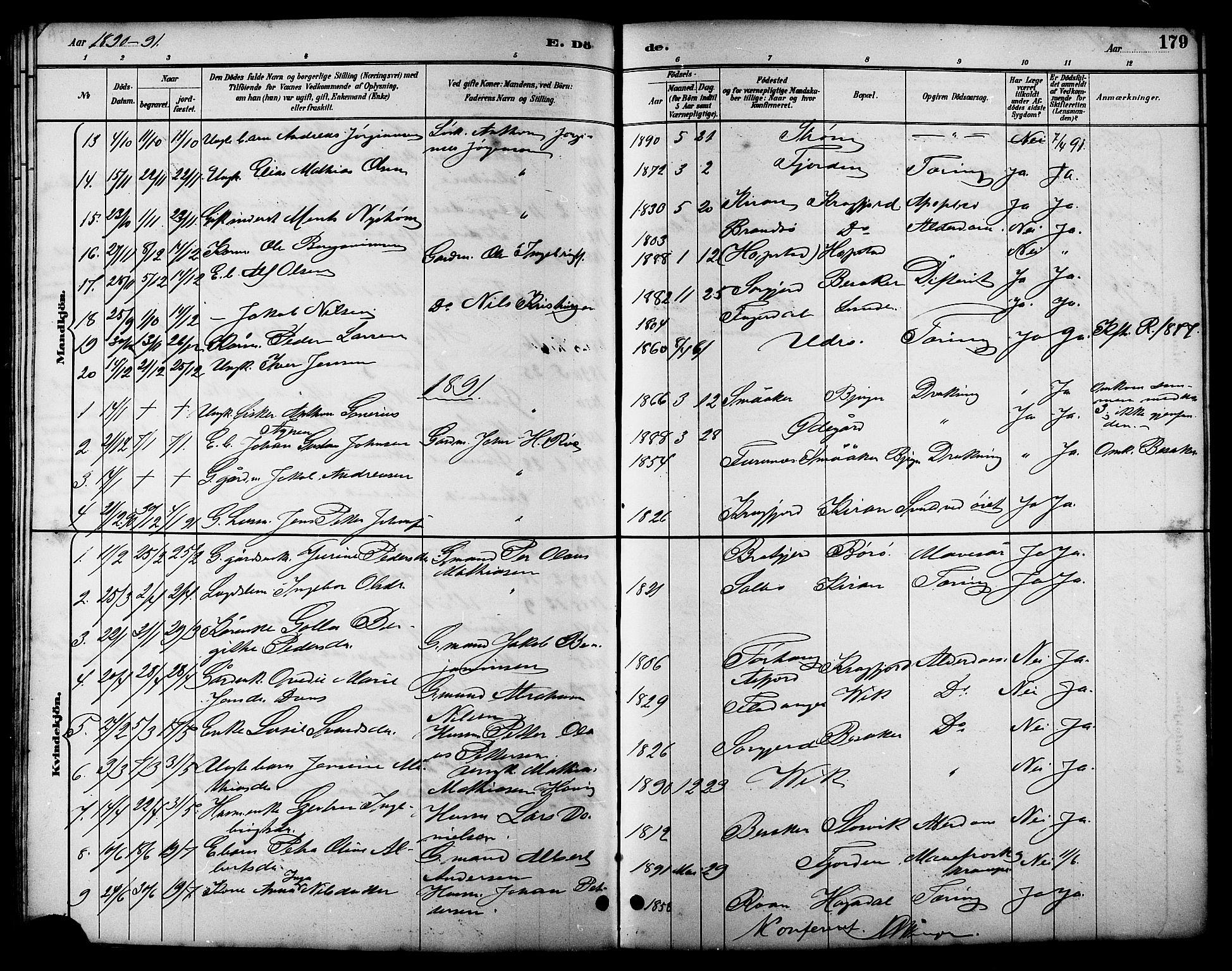 SAT, Ministerialprotokoller, klokkerbøker og fødselsregistre - Sør-Trøndelag, 657/L0716: Klokkerbok nr. 657C03, 1889-1904, s. 179