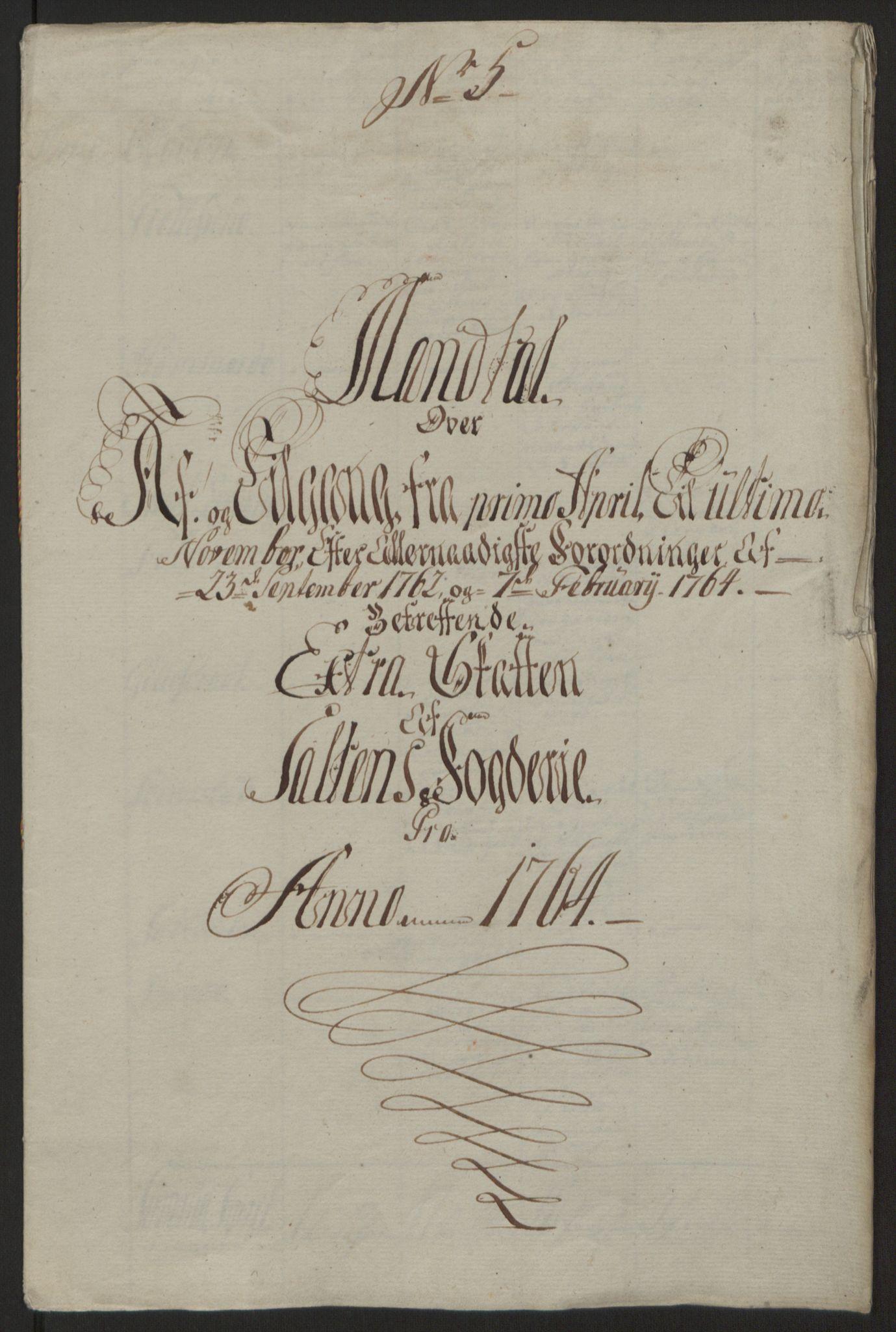 RA, Rentekammeret inntil 1814, Reviderte regnskaper, Fogderegnskap, R66/L4670: Ekstraskatten Salten, 1762-1764, s. 392