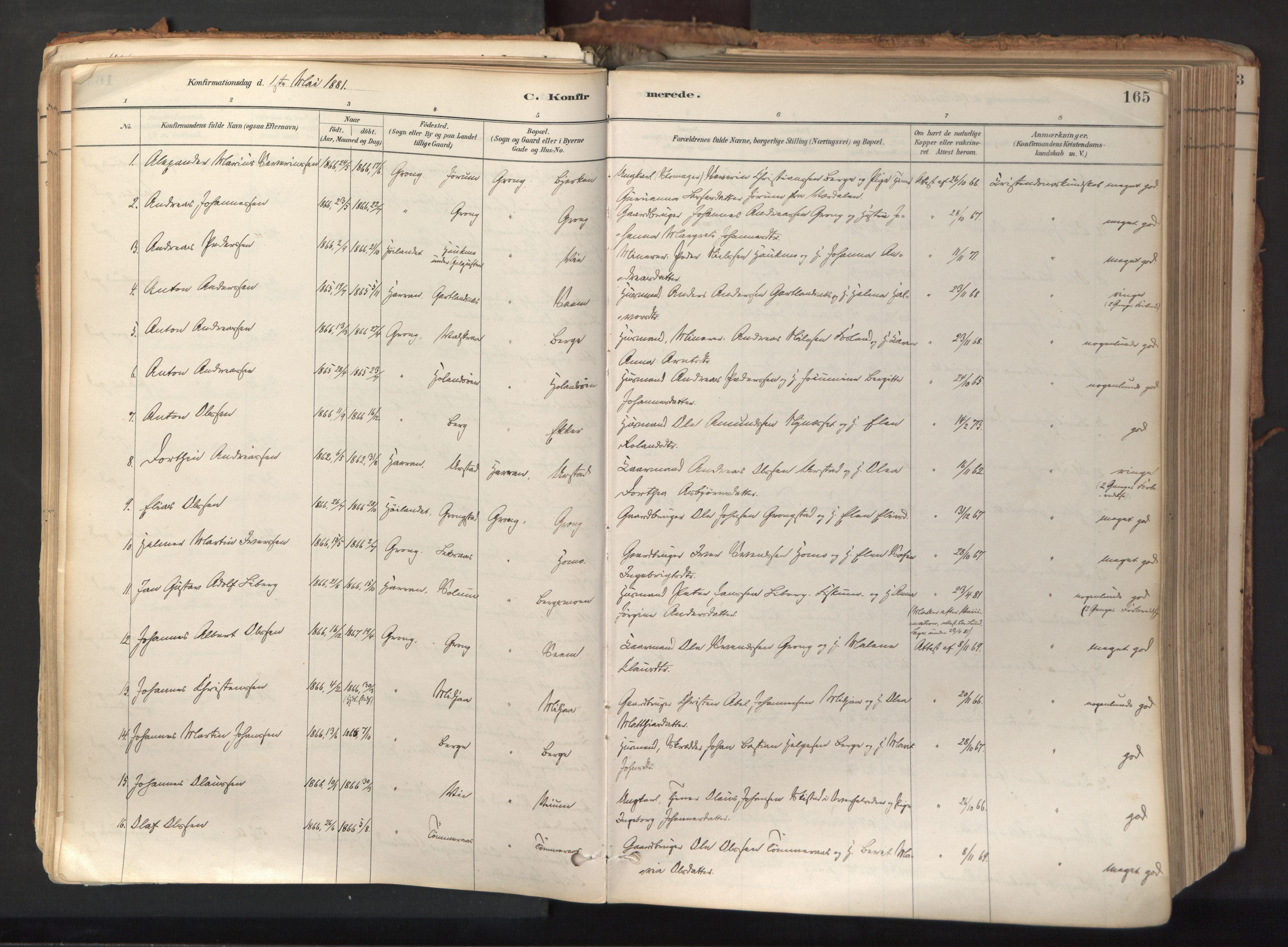 SAT, Ministerialprotokoller, klokkerbøker og fødselsregistre - Nord-Trøndelag, 758/L0519: Ministerialbok nr. 758A04, 1880-1926, s. 165