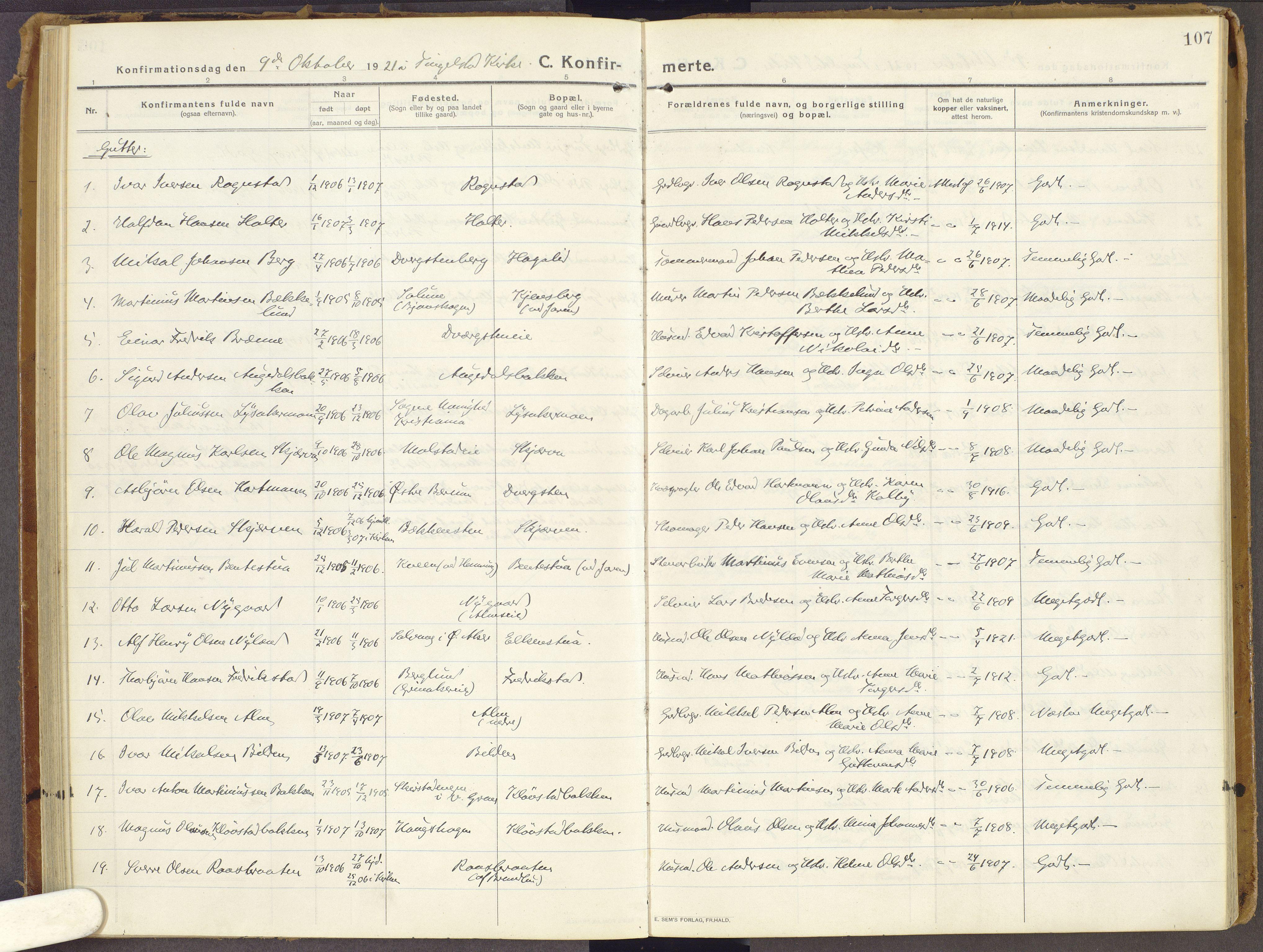 SAH, Brandbu prestekontor, Ministerialbok nr. 3, 1914-1928, s. 107