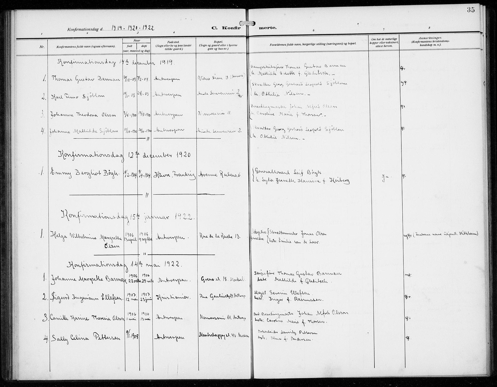 SAB, Den Norske Sjømannsmisjon i utlandet*, Ministerialbok nr. A 3, 1914-1930, s. 35