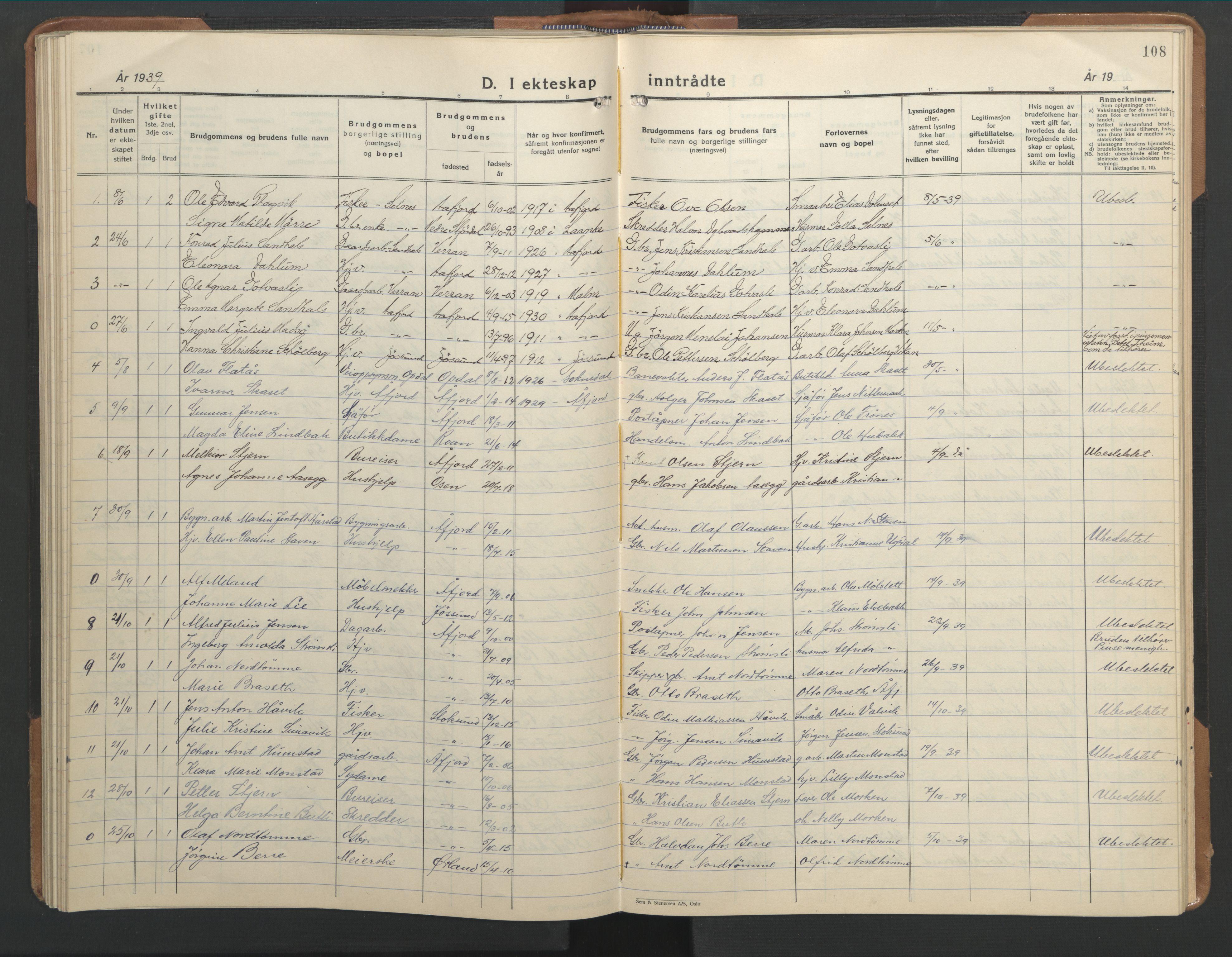 SAT, Ministerialprotokoller, klokkerbøker og fødselsregistre - Sør-Trøndelag, 655/L0690: Klokkerbok nr. 655C06, 1937-1950, s. 108