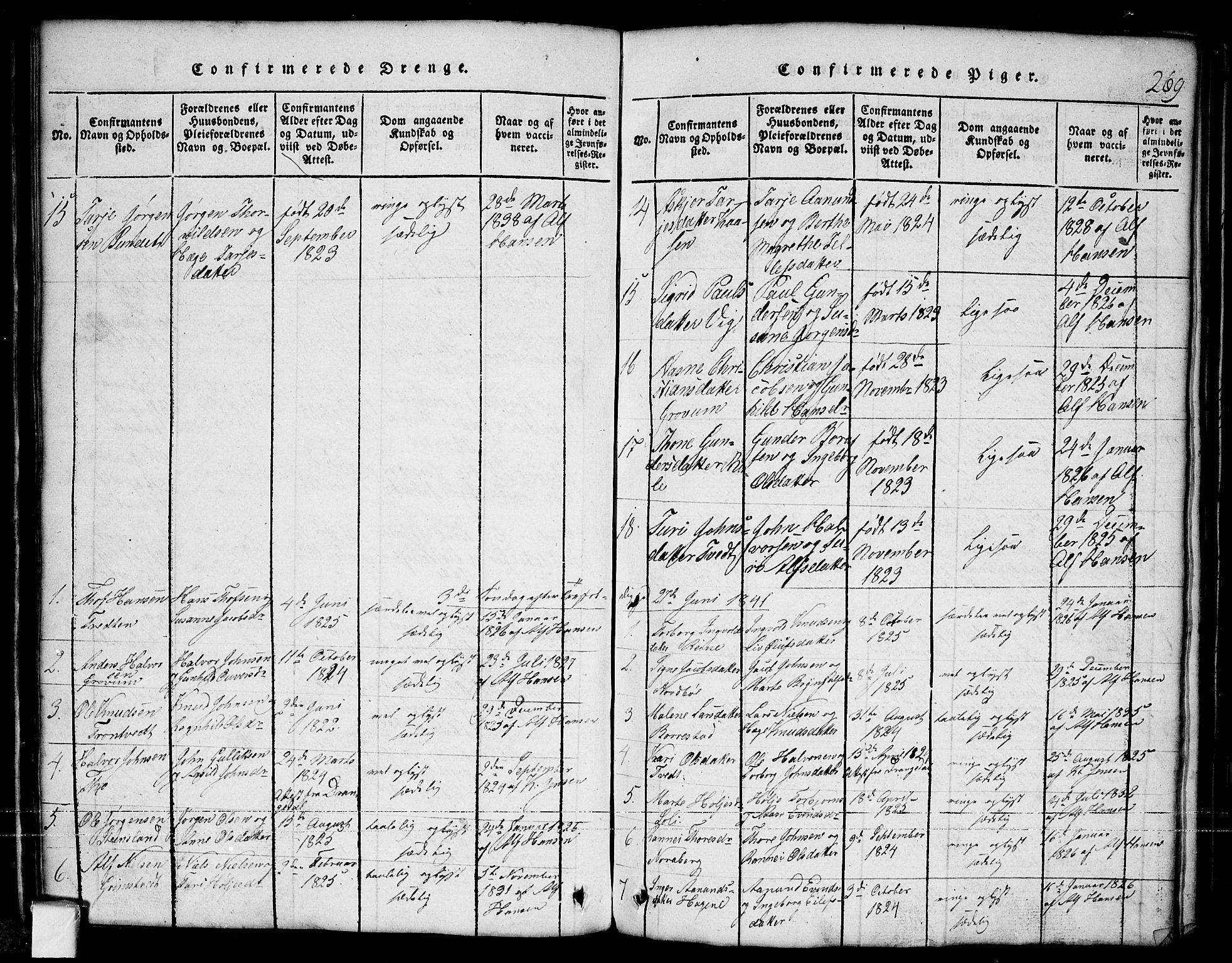 SAKO, Nissedal kirkebøker, G/Ga/L0001: Klokkerbok nr. I 1, 1814-1860, s. 269