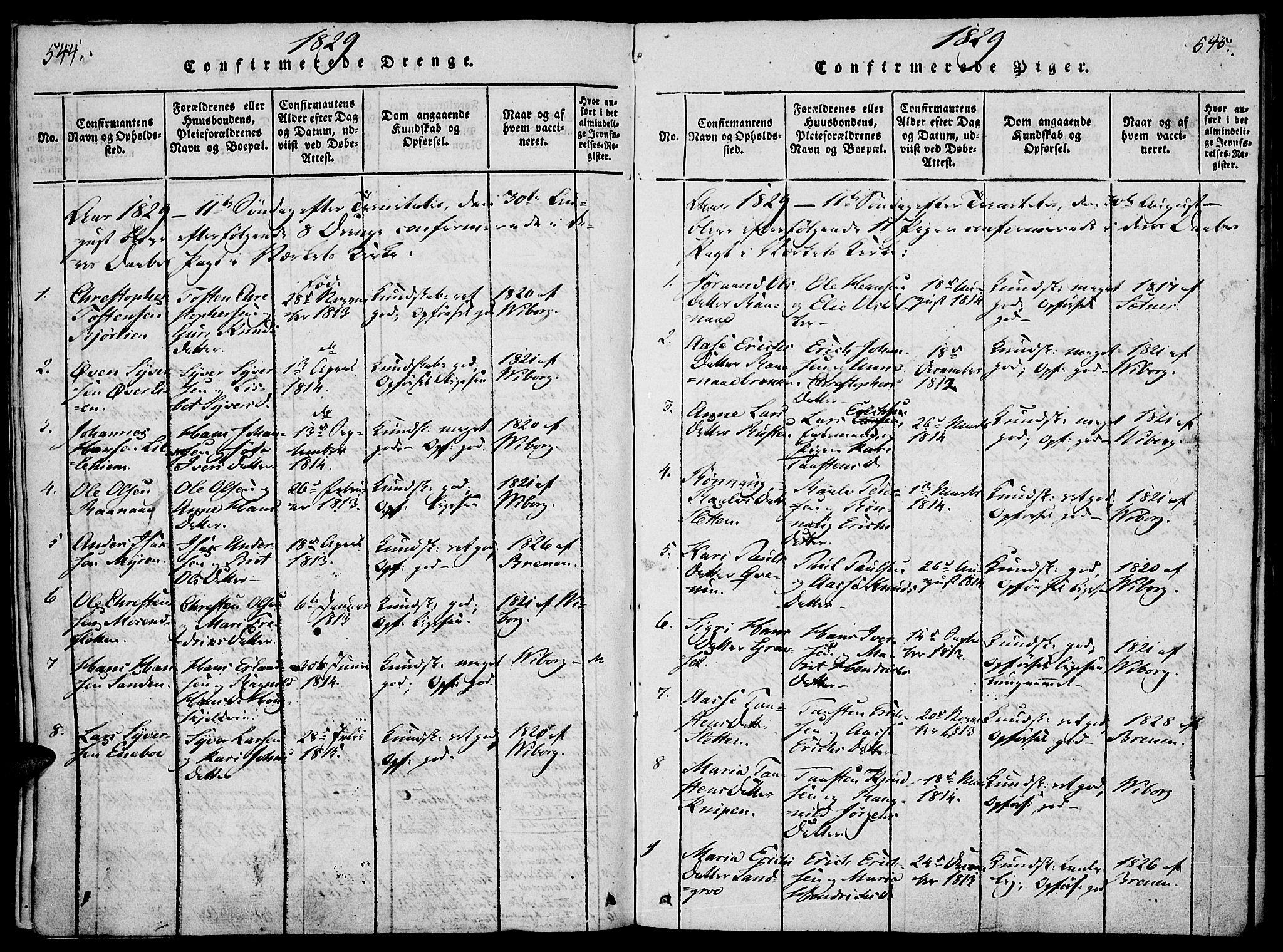 SAH, Lesja prestekontor, Ministerialbok nr. 4, 1820-1829, s. 544-545
