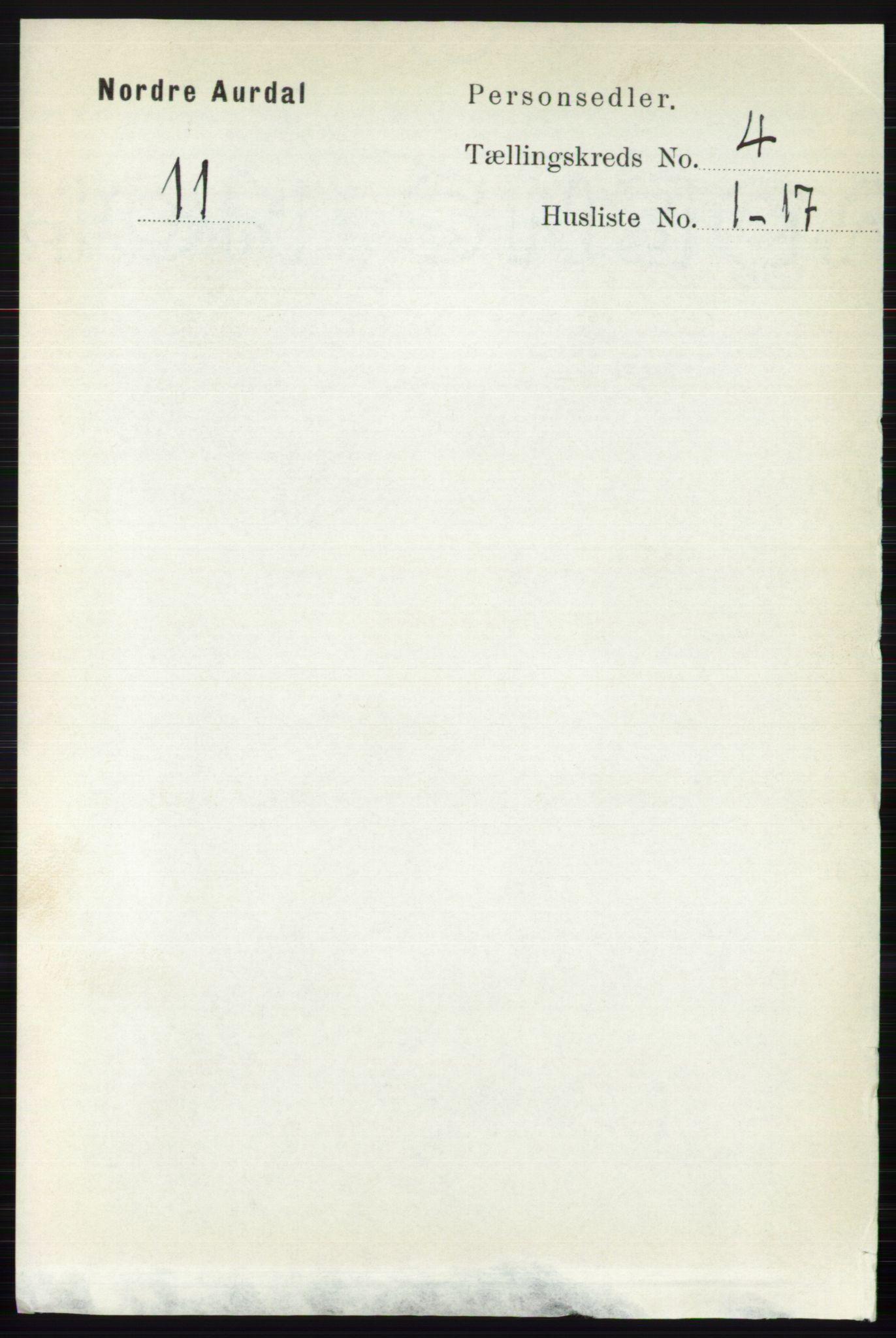 RA, Folketelling 1891 for 0542 Nord-Aurdal herred, 1891, s. 1167