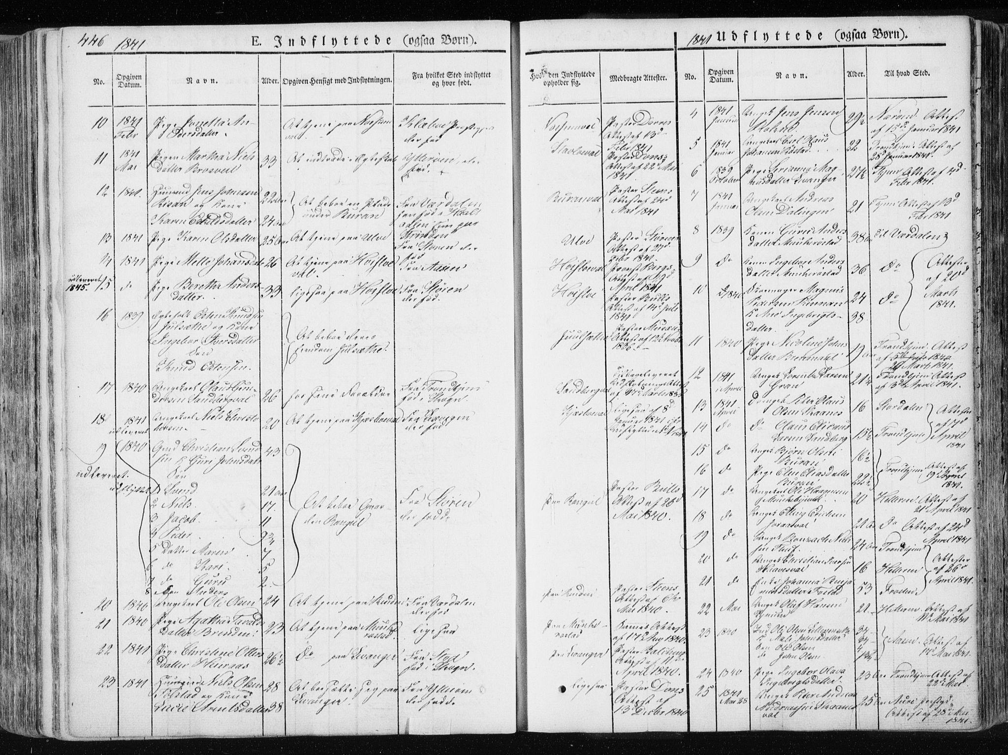 SAT, Ministerialprotokoller, klokkerbøker og fødselsregistre - Nord-Trøndelag, 717/L0154: Ministerialbok nr. 717A06 /1, 1836-1849, s. 446