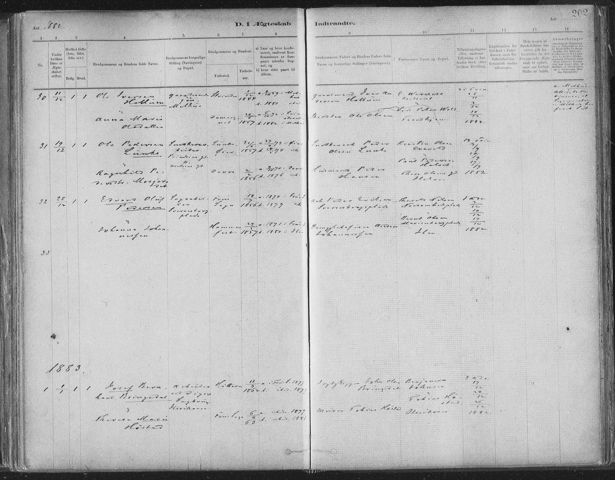 SAT, Ministerialprotokoller, klokkerbøker og fødselsregistre - Sør-Trøndelag, 603/L0162: Ministerialbok nr. 603A01, 1879-1895, s. 202