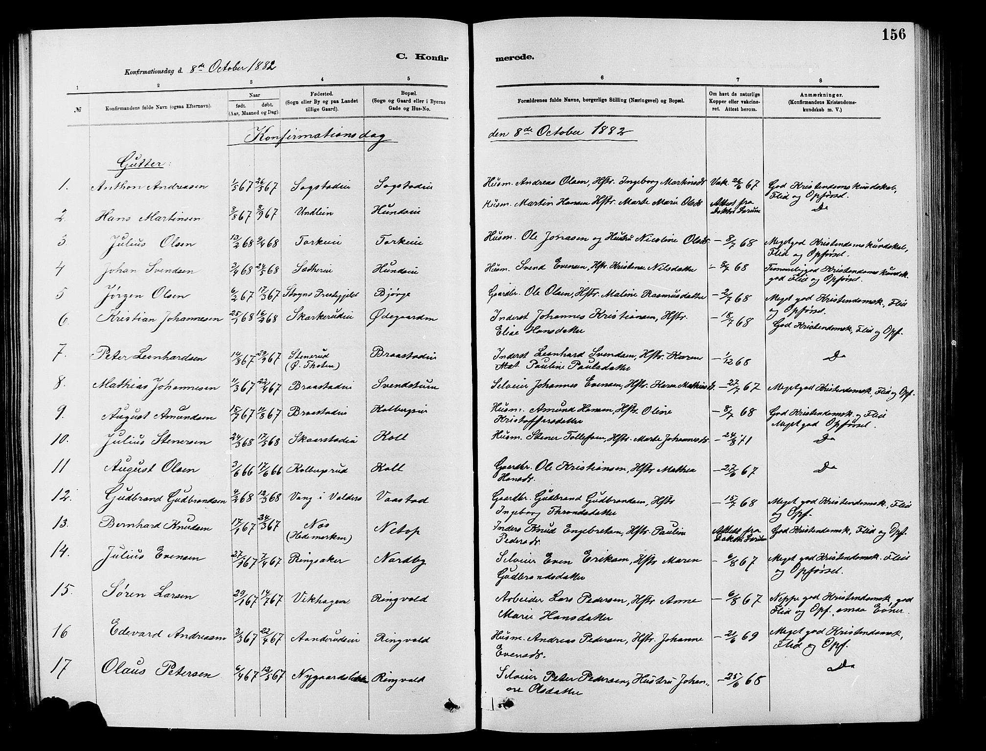 SAH, Vardal prestekontor, H/Ha/Hab/L0007: Klokkerbok nr. 7 /1, 1881-1895, s. 156