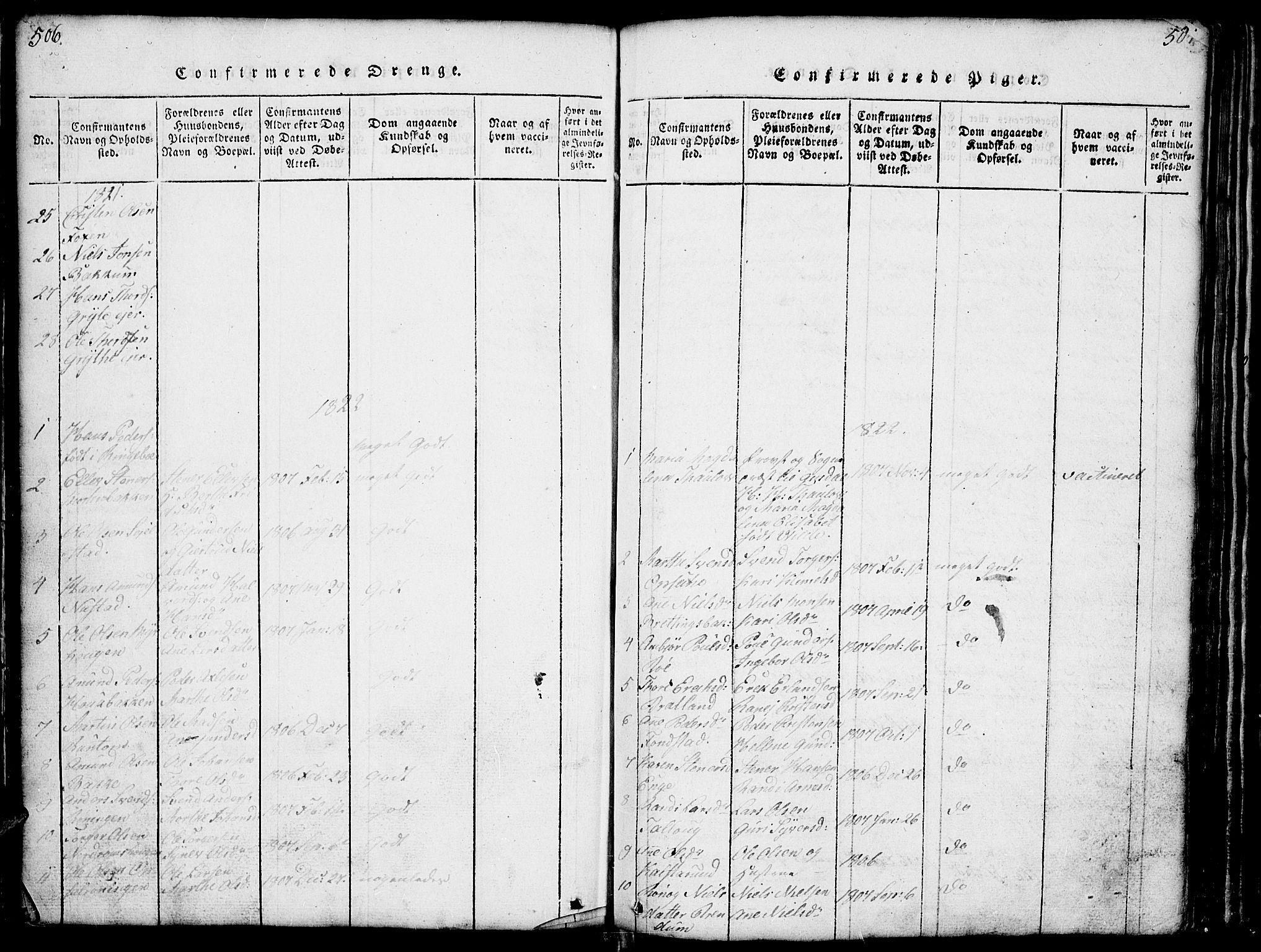 SAH, Gausdal prestekontor, Klokkerbok nr. 1, 1817-1848, s. 506-507
