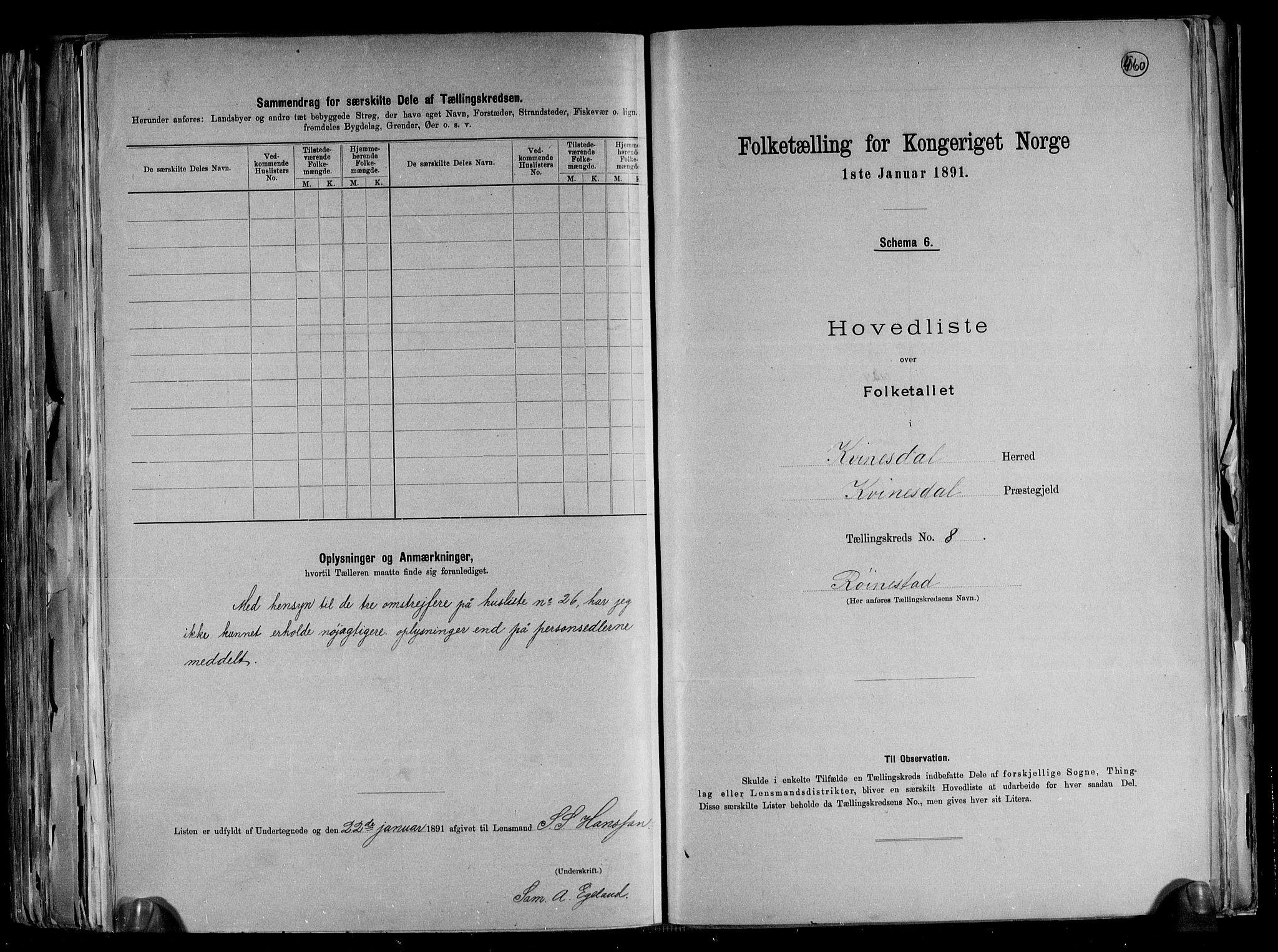 RA, Folketelling 1891 for 1037 Kvinesdal herred, 1891, s. 22