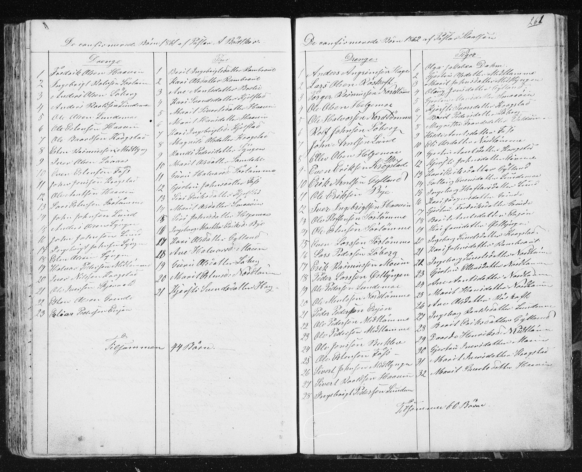 SAT, Ministerialprotokoller, klokkerbøker og fødselsregistre - Sør-Trøndelag, 692/L1110: Klokkerbok nr. 692C05, 1849-1889, s. 261