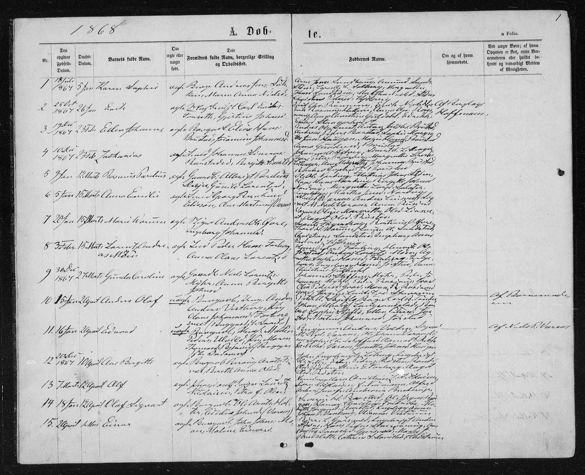 SAT, Ministerialprotokoller, klokkerbøker og fødselsregistre - Nord-Trøndelag, 722/L0219: Ministerialbok nr. 722A06, 1868-1880, s. 1