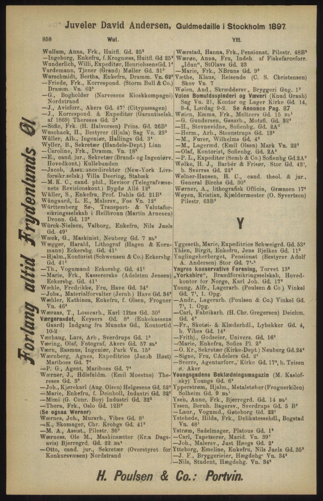 RA, Kristiania adressebok (publikasjon)*, 1904, s. 858