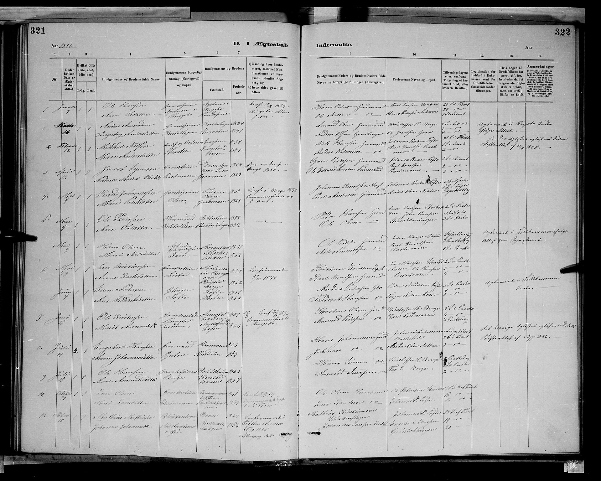SAH, Sør-Fron prestekontor, H/Ha/Hab/L0003: Klokkerbok nr. 3, 1884-1896, s. 321-322