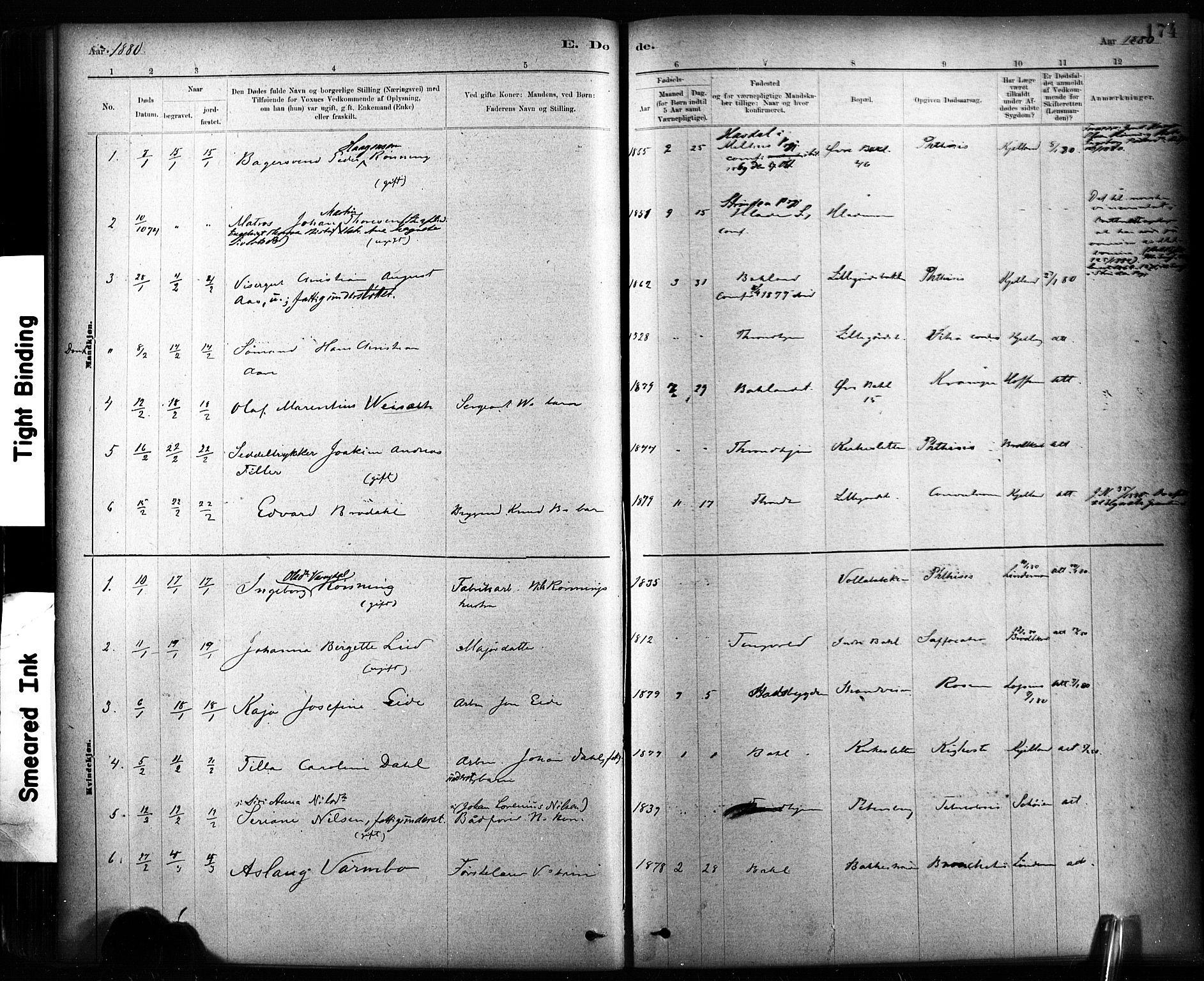 SAT, Ministerialprotokoller, klokkerbøker og fødselsregistre - Sør-Trøndelag, 604/L0189: Ministerialbok nr. 604A10, 1878-1892, s. 174
