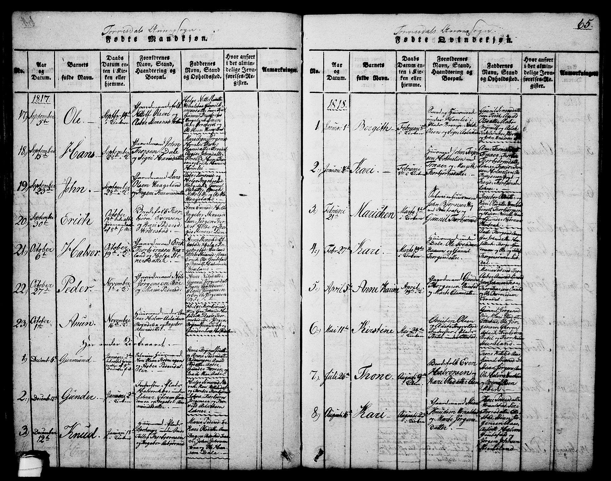 SAKO, Drangedal kirkebøker, G/Ga/L0001: Klokkerbok nr. I 1 /2, 1814-1856, s. 65