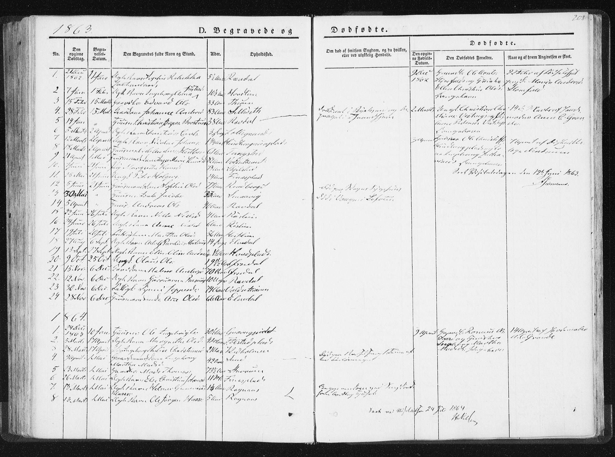 SAT, Ministerialprotokoller, klokkerbøker og fødselsregistre - Nord-Trøndelag, 744/L0418: Ministerialbok nr. 744A02, 1843-1866, s. 208