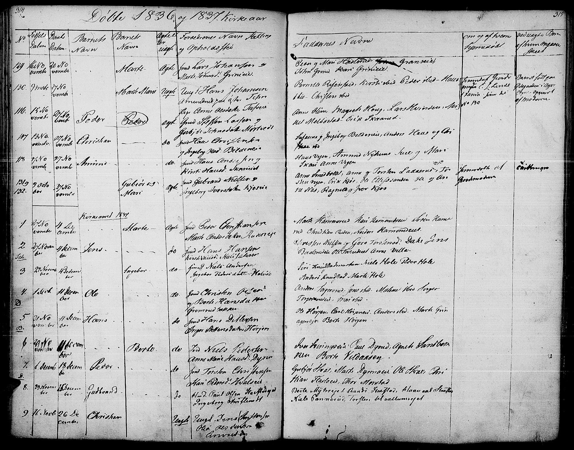 SAH, Gran prestekontor, Ministerialbok nr. 10, 1824-1842, s. 314-315