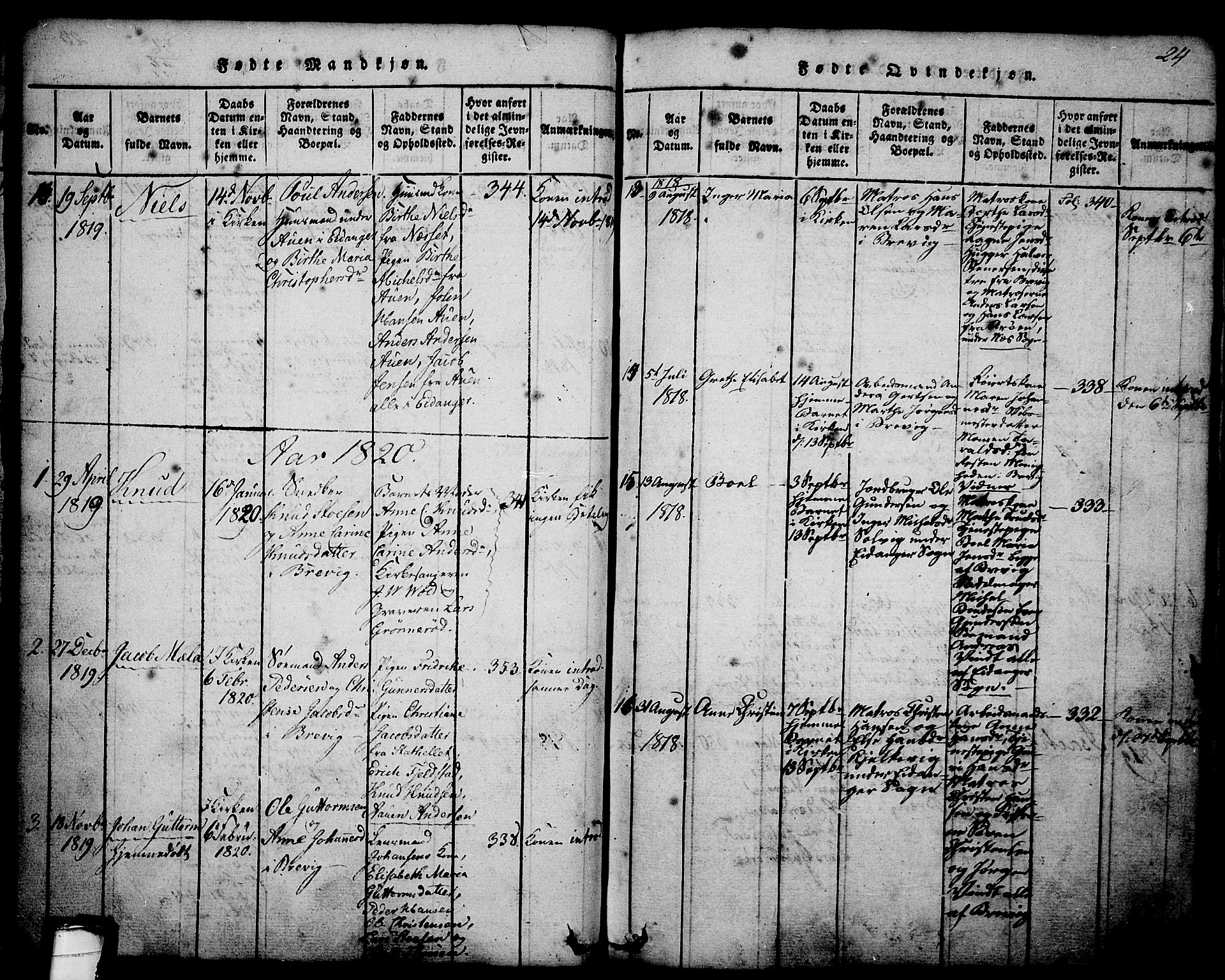 SAKO, Brevik kirkebøker, G/Ga/L0001: Klokkerbok nr. 1, 1814-1845, s. 24