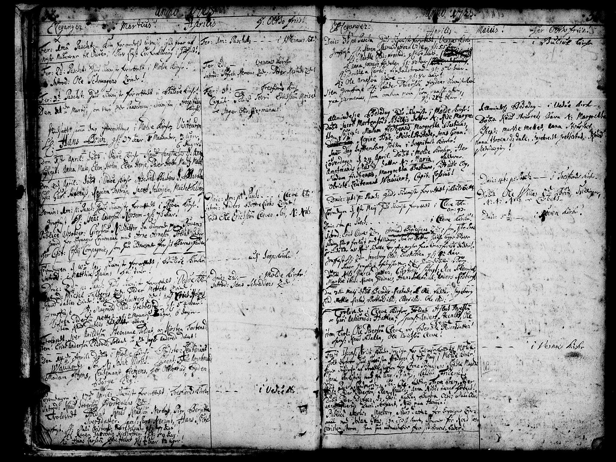 SAT, Ministerialprotokoller, klokkerbøker og fødselsregistre - Møre og Romsdal, 547/L0599: Ministerialbok nr. 547A01, 1721-1764, s. 32-33