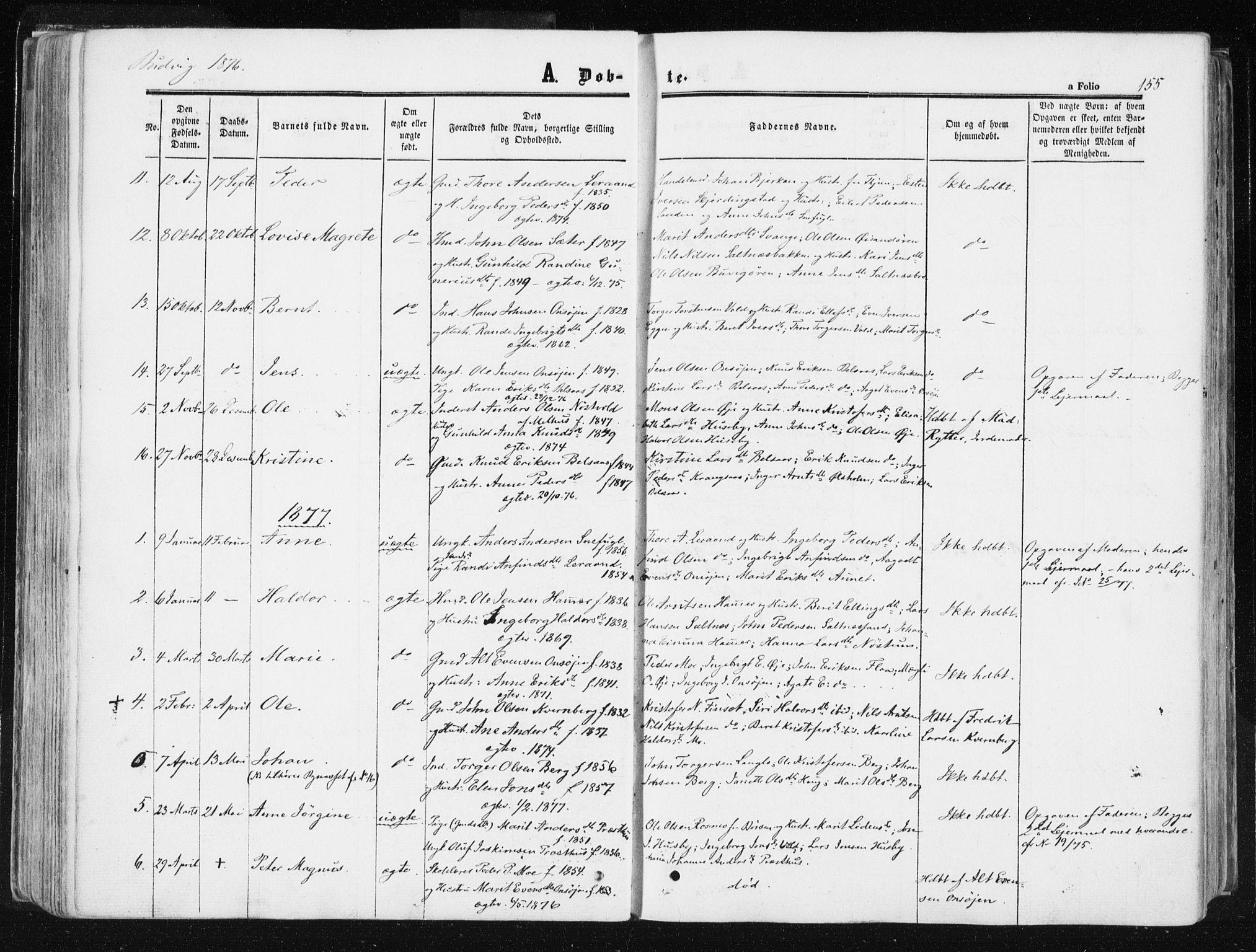 SAT, Ministerialprotokoller, klokkerbøker og fødselsregistre - Sør-Trøndelag, 612/L0377: Ministerialbok nr. 612A09, 1859-1877, s. 155