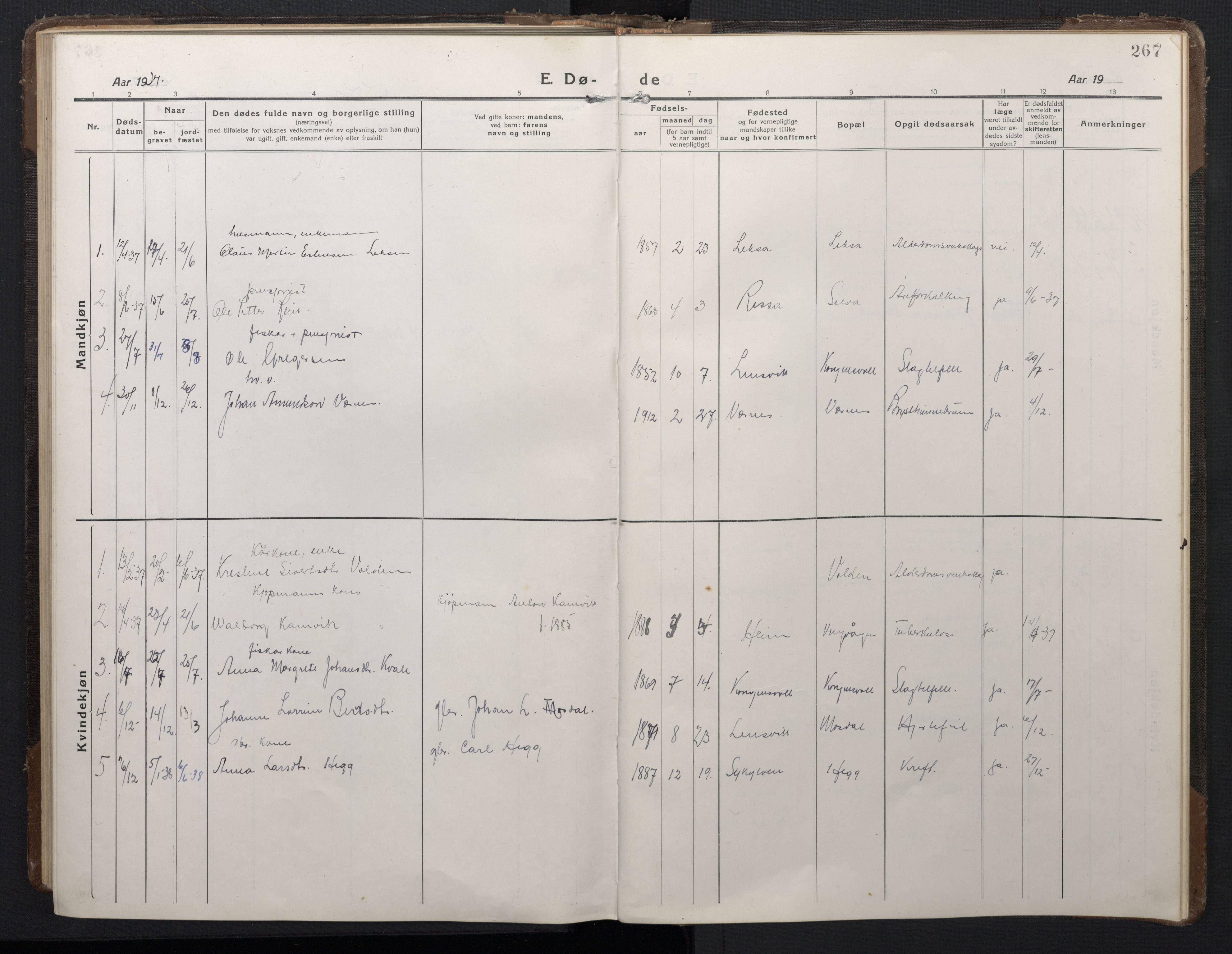 SAT, Ministerialprotokoller, klokkerbøker og fødselsregistre - Sør-Trøndelag, 662/L0758: Klokkerbok nr. 662C03, 1918-1948, s. 267