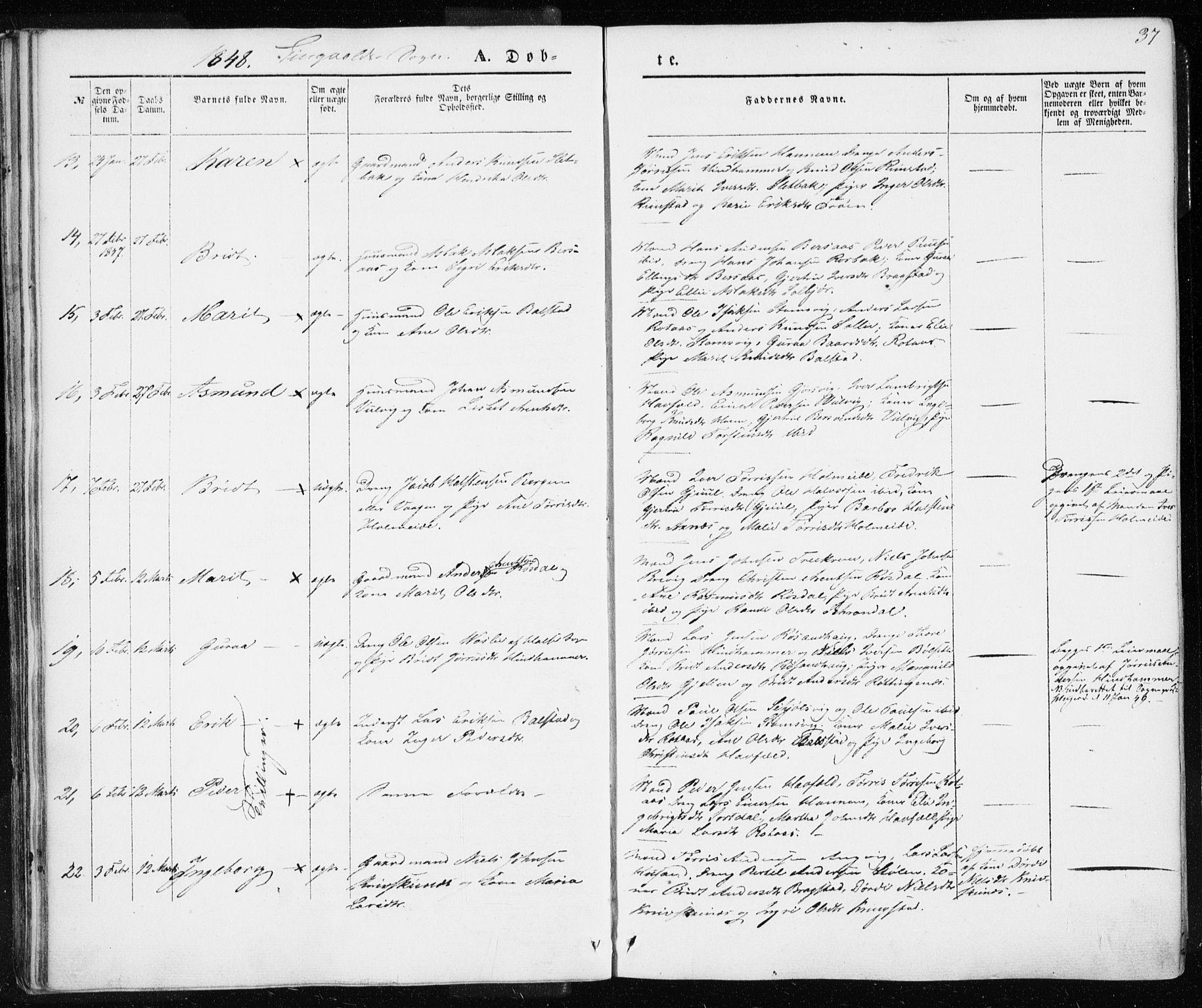 SAT, Ministerialprotokoller, klokkerbøker og fødselsregistre - Møre og Romsdal, 586/L0984: Ministerialbok nr. 586A10, 1844-1856, s. 37