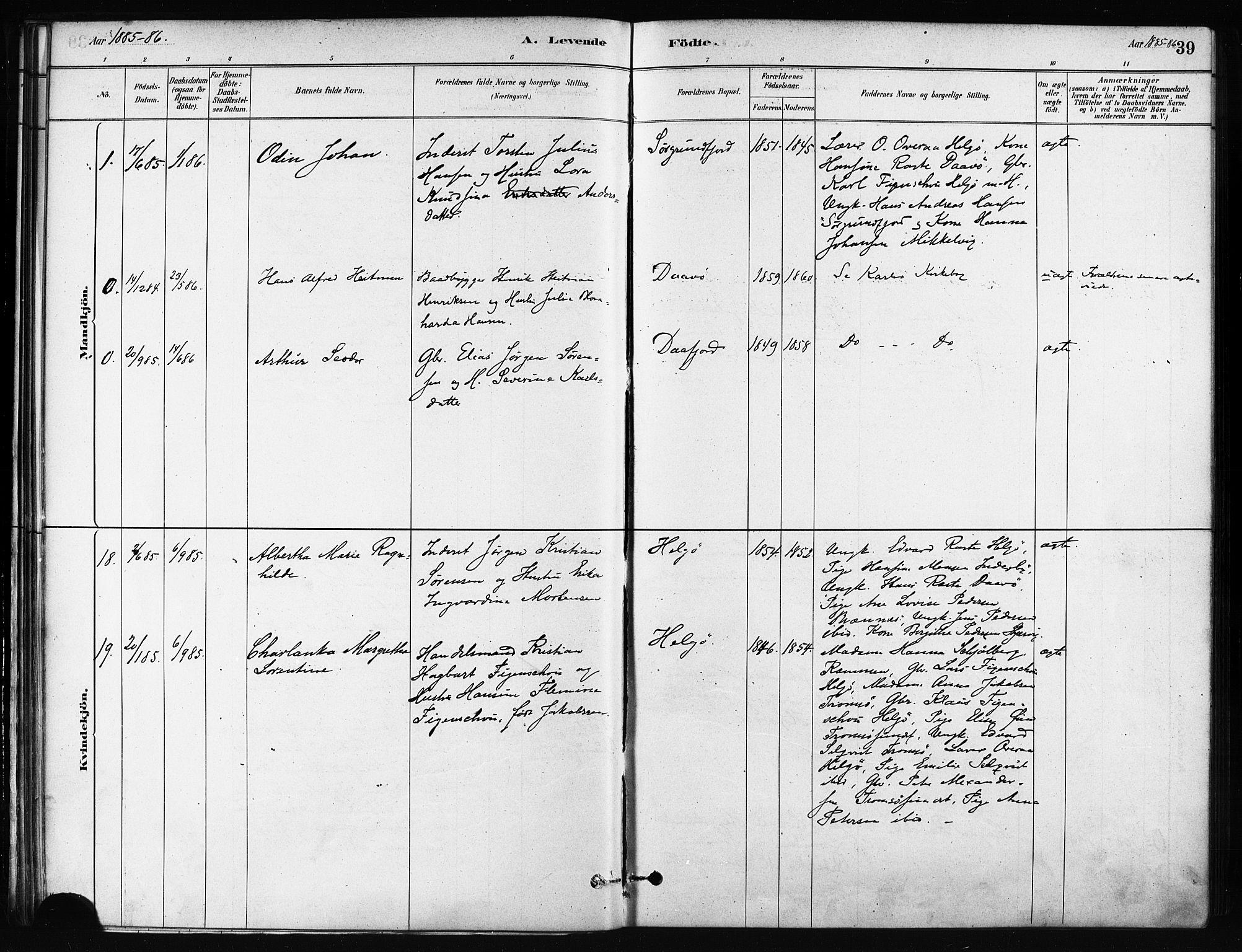 SATØ, Karlsøy sokneprestembete, H/Ha/Haa/L0011kirke: Ministerialbok nr. 11, 1879-1892, s. 39