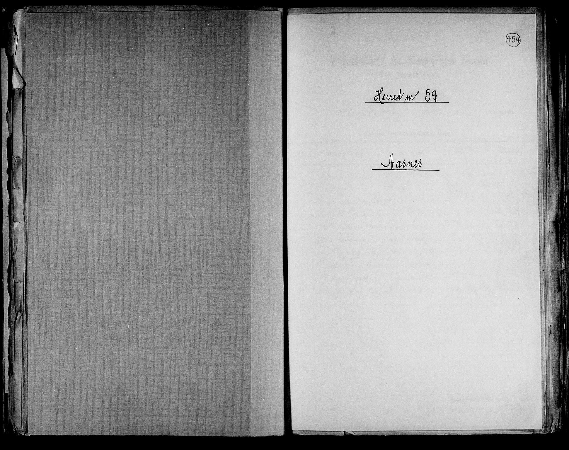 RA, Folketelling 1891 for 0425 Åsnes herred, 1891, s. 1