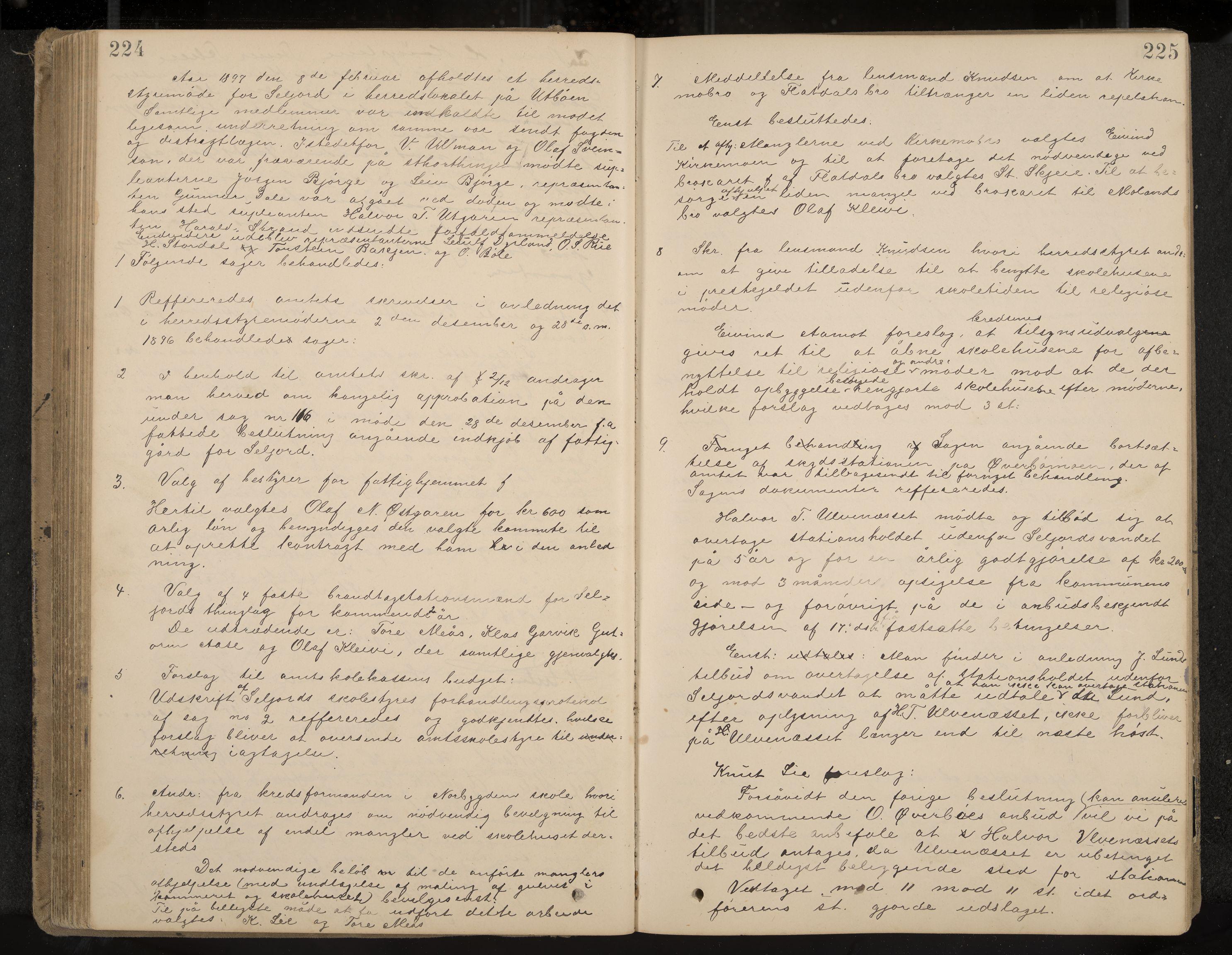 IKAK, Seljord formannskap og sentraladministrasjon, A/Aa/L0003: Møtebok med register, 1891-1905, s. 224-225