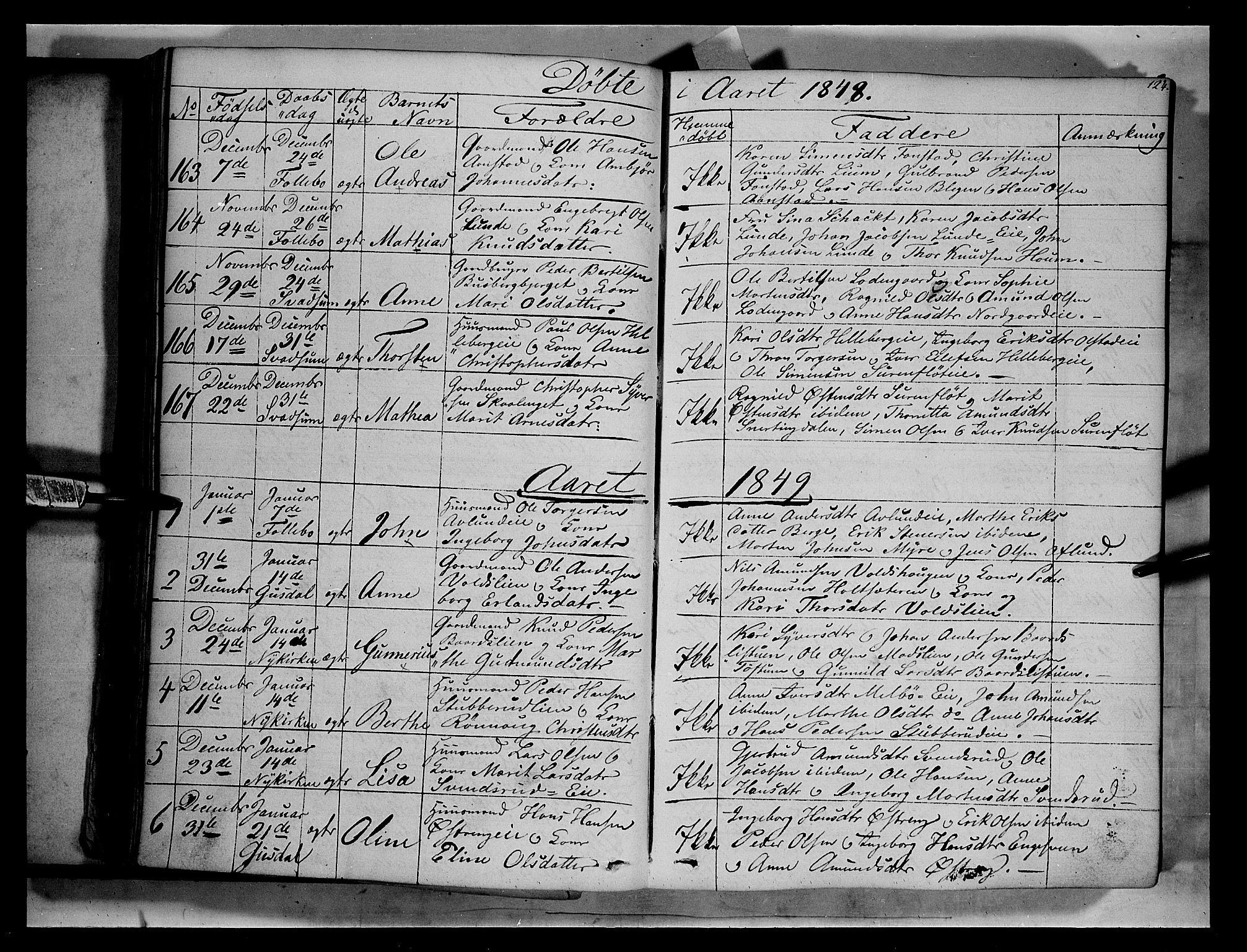 SAH, Gausdal prestekontor, Ministerialbok nr. 7, 1840-1850, s. 124