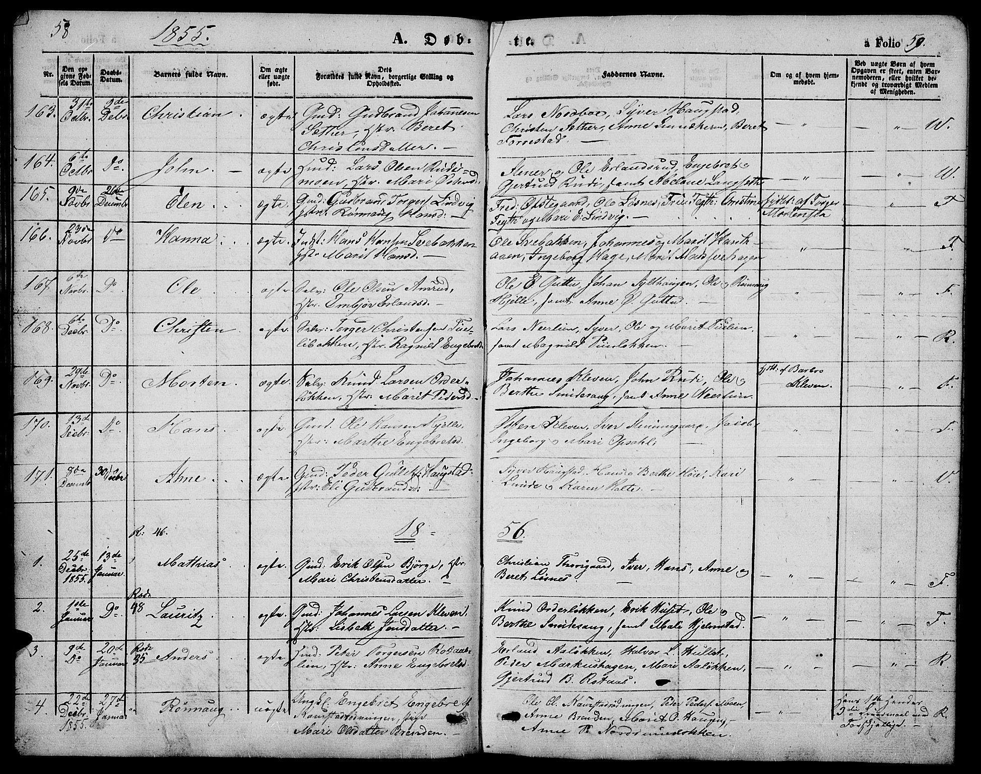 SAH, Ringebu prestekontor, Klokkerbok nr. 3, 1854-1866, s. 58-59