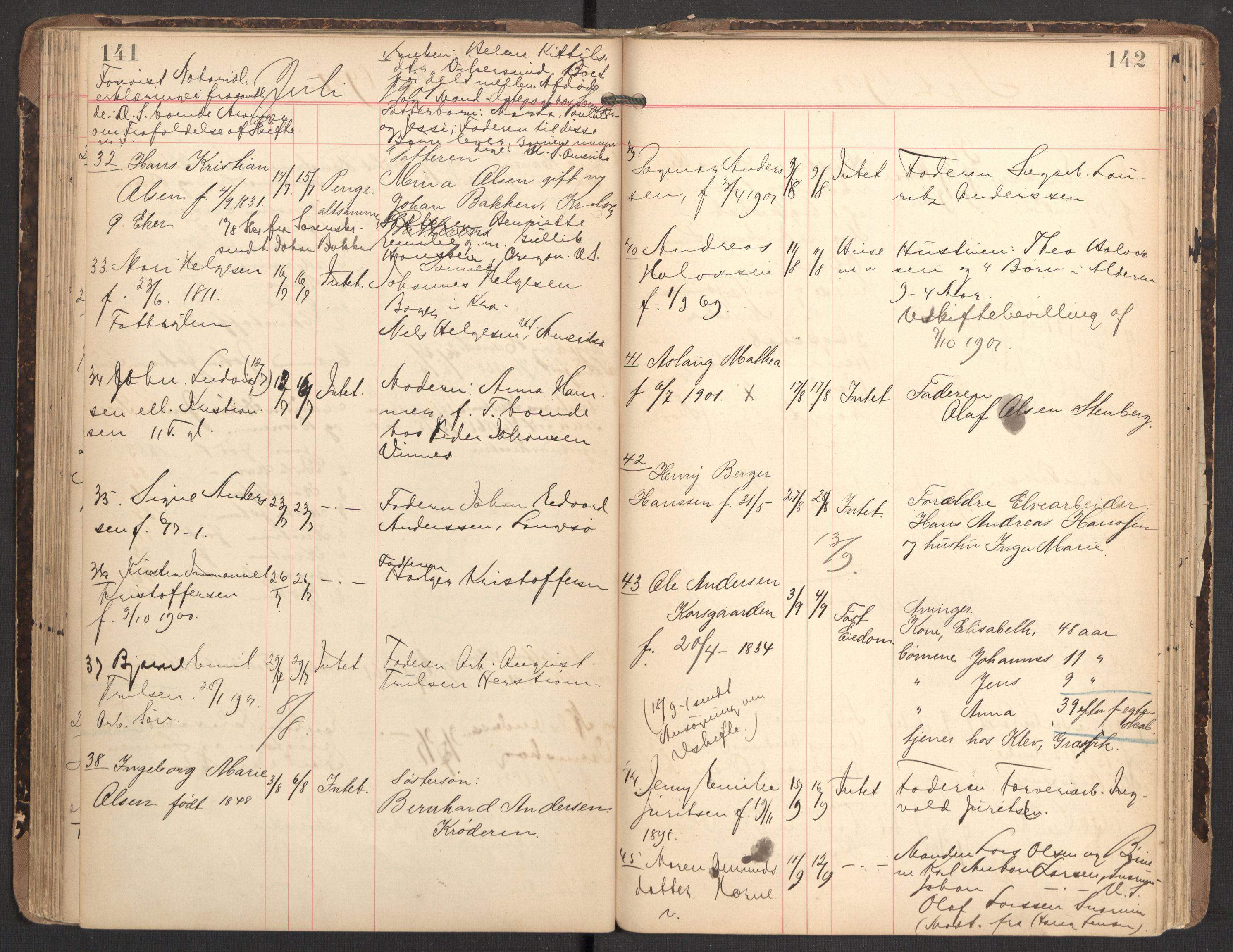 SAKO, Nedre Eiker lensmannskontor, H/Ha/L0001: Dødsfallsprotokoll, 1887-1915, s. 141-142