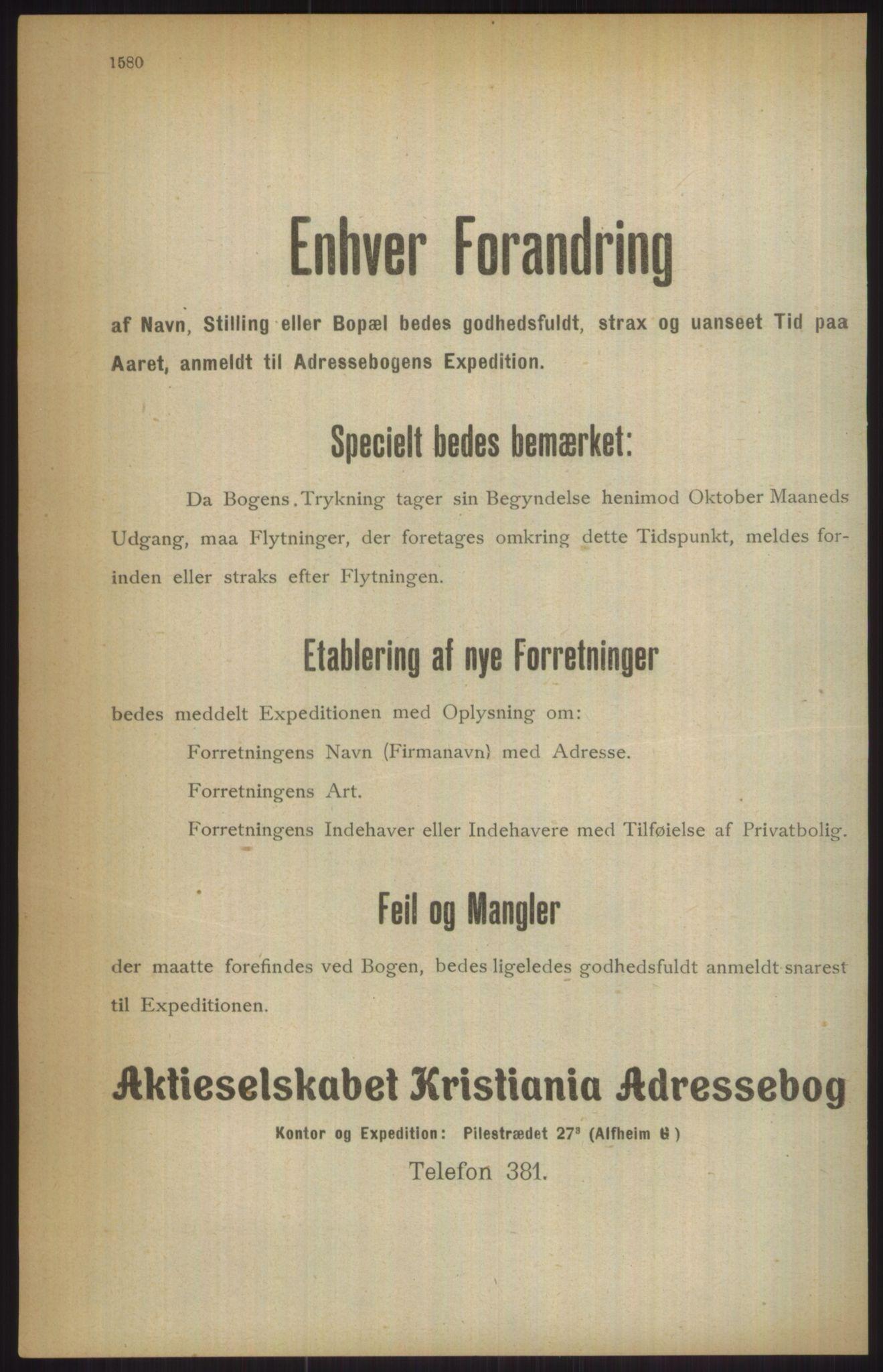 RA, Kristiania adressebok (publikasjon)*, 1911, s. 1580