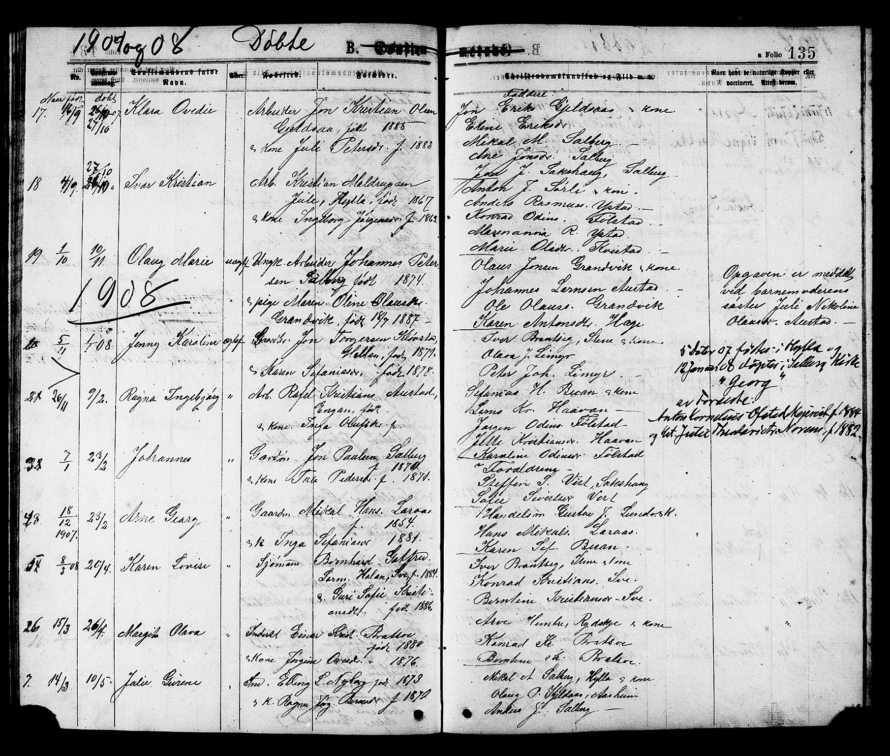 SAT, Ministerialprotokoller, klokkerbøker og fødselsregistre - Nord-Trøndelag, 731/L0311: Klokkerbok nr. 731C02, 1875-1911, s. 135