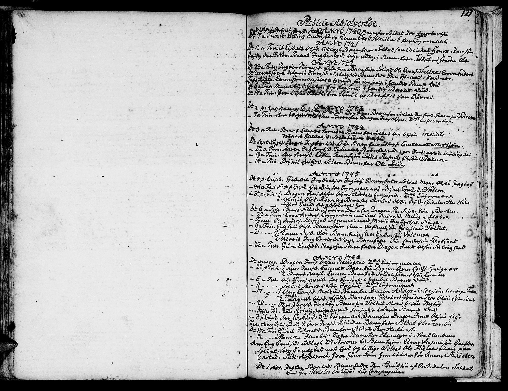 SAT, Ministerialprotokoller, klokkerbøker og fødselsregistre - Sør-Trøndelag, 691/L1057: Ministerialbok nr. 691A01 /1, 1740-1767, s. 121