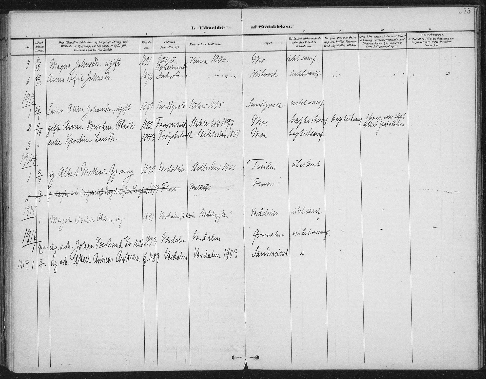 SAT, Ministerialprotokoller, klokkerbøker og fødselsregistre - Nord-Trøndelag, 723/L0246: Ministerialbok nr. 723A15, 1900-1917, s. 355