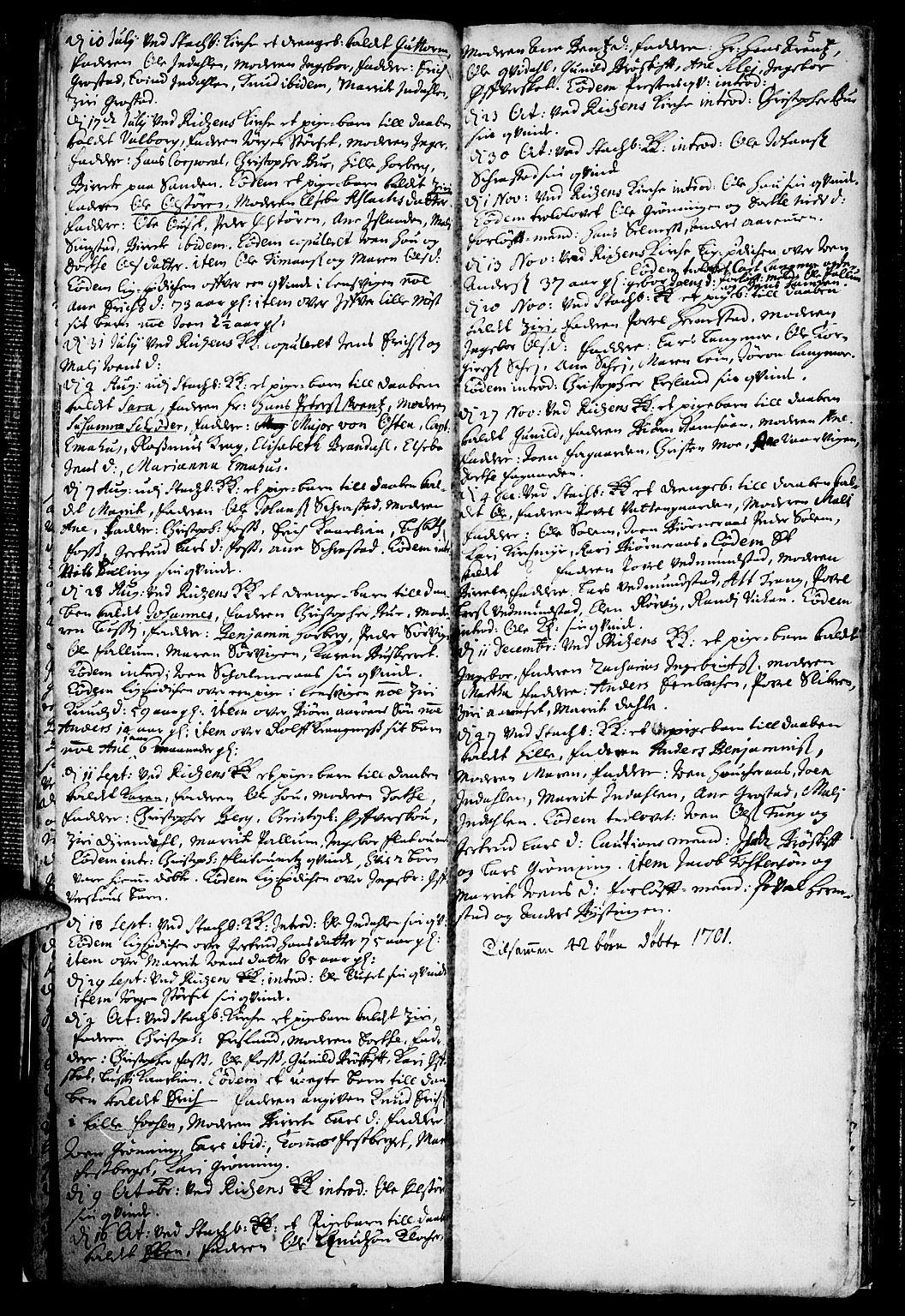 SAT, Ministerialprotokoller, klokkerbøker og fødselsregistre - Sør-Trøndelag, 646/L0603: Ministerialbok nr. 646A01, 1700-1734, s. 5
