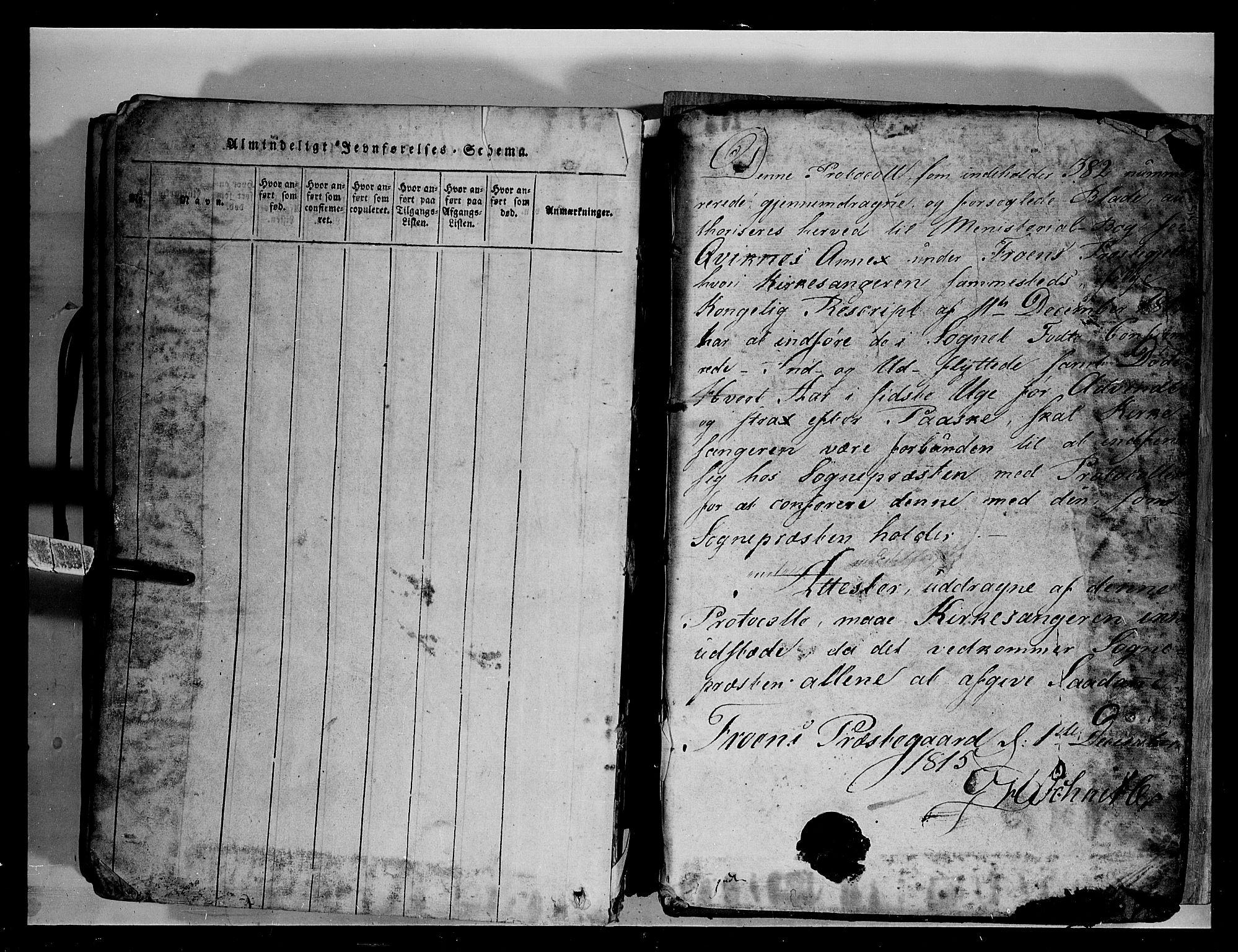 SAH, Fron prestekontor, H/Ha/Hab/L0003: Klokkerbok nr. 3, 1816-1850