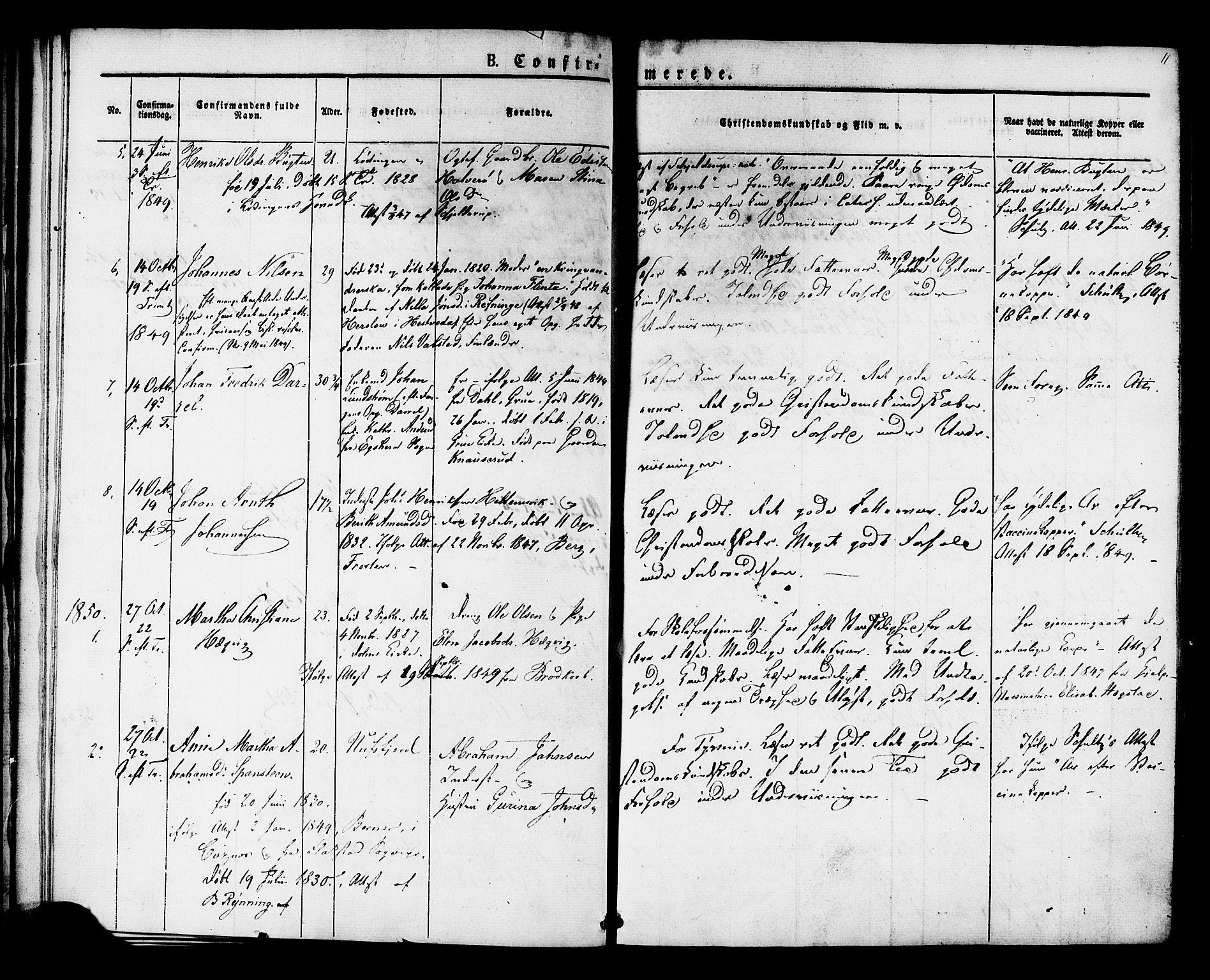 SAT, Ministerialprotokoller, klokkerbøker og fødselsregistre - Sør-Trøndelag, 624/L0480: Ministerialbok nr. 624A01, 1841-1864, s. 11